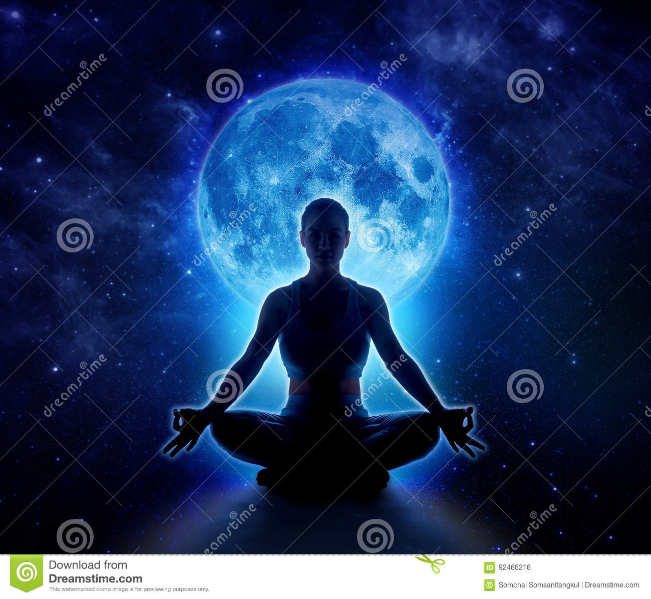 Yoga woman in moon and star. Meditation girl in moonlight