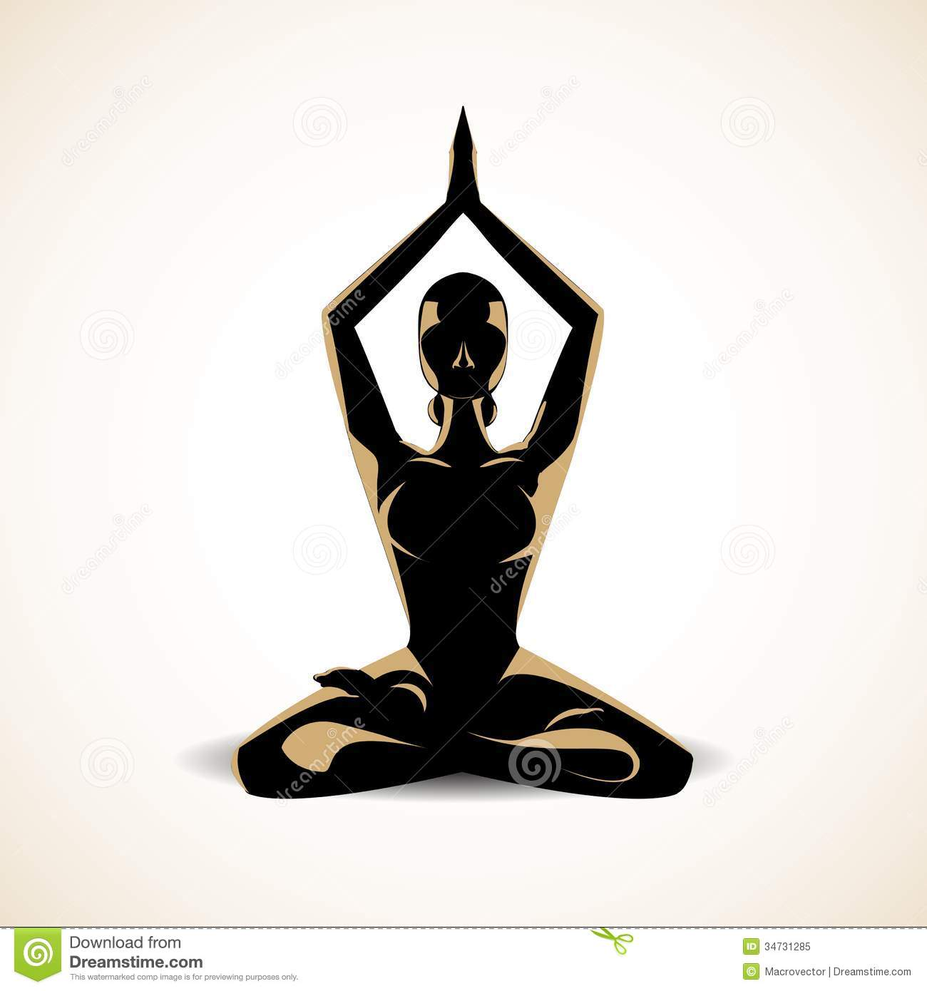 Woman silhouette in the yoga meditation pose vector illustration Yoga Meditation Pose Silhouette