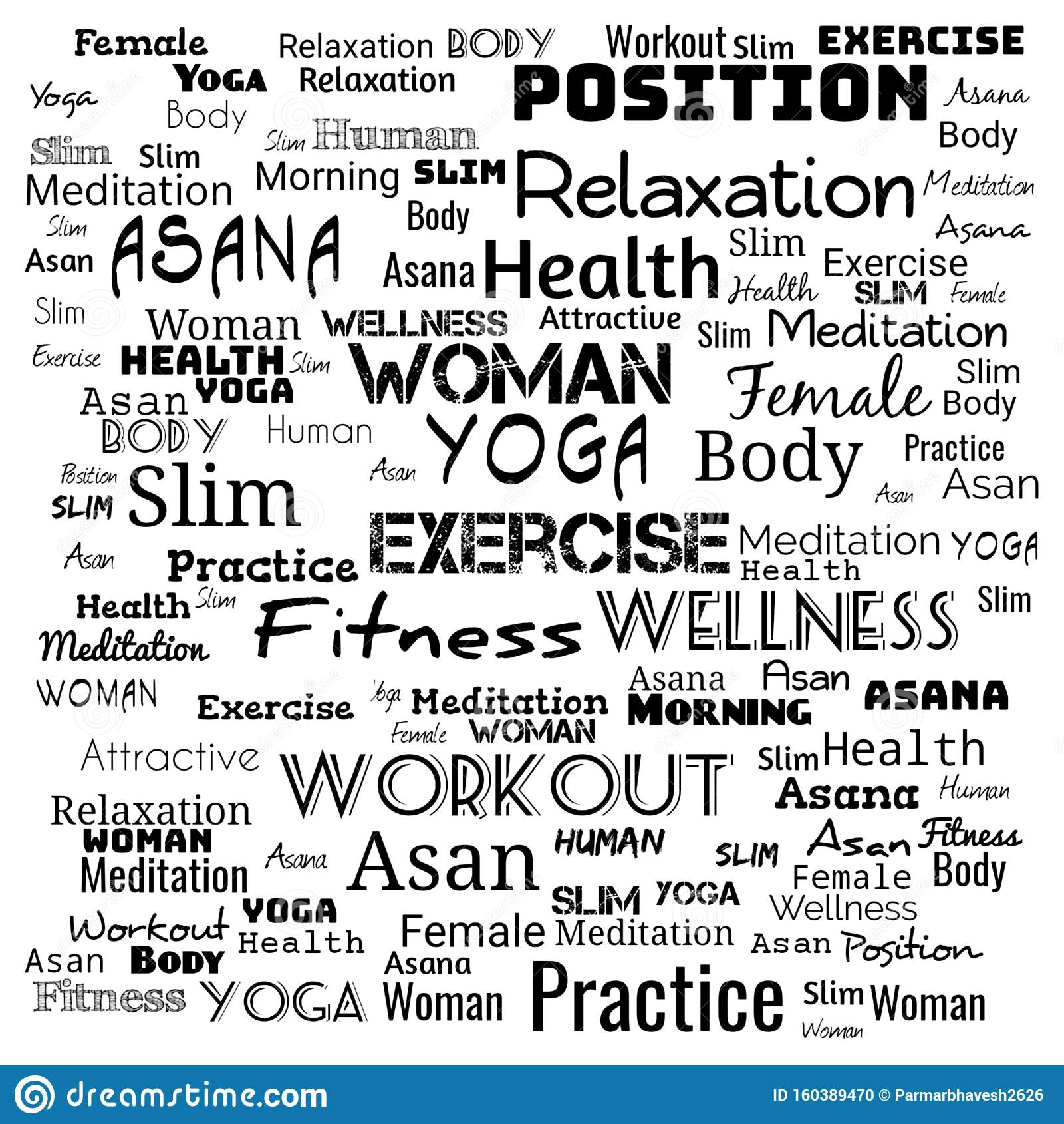 YOGA. Word cloud concept illustration on black ,background for web-page,yoga text for t-shirt,yoga background for web-page