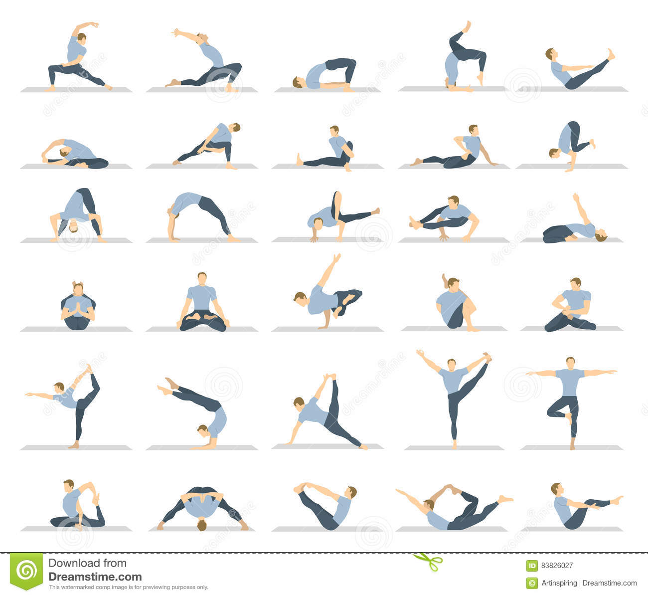 Yoga Workout For Men Set. Stock Vector - Image: 83826027
