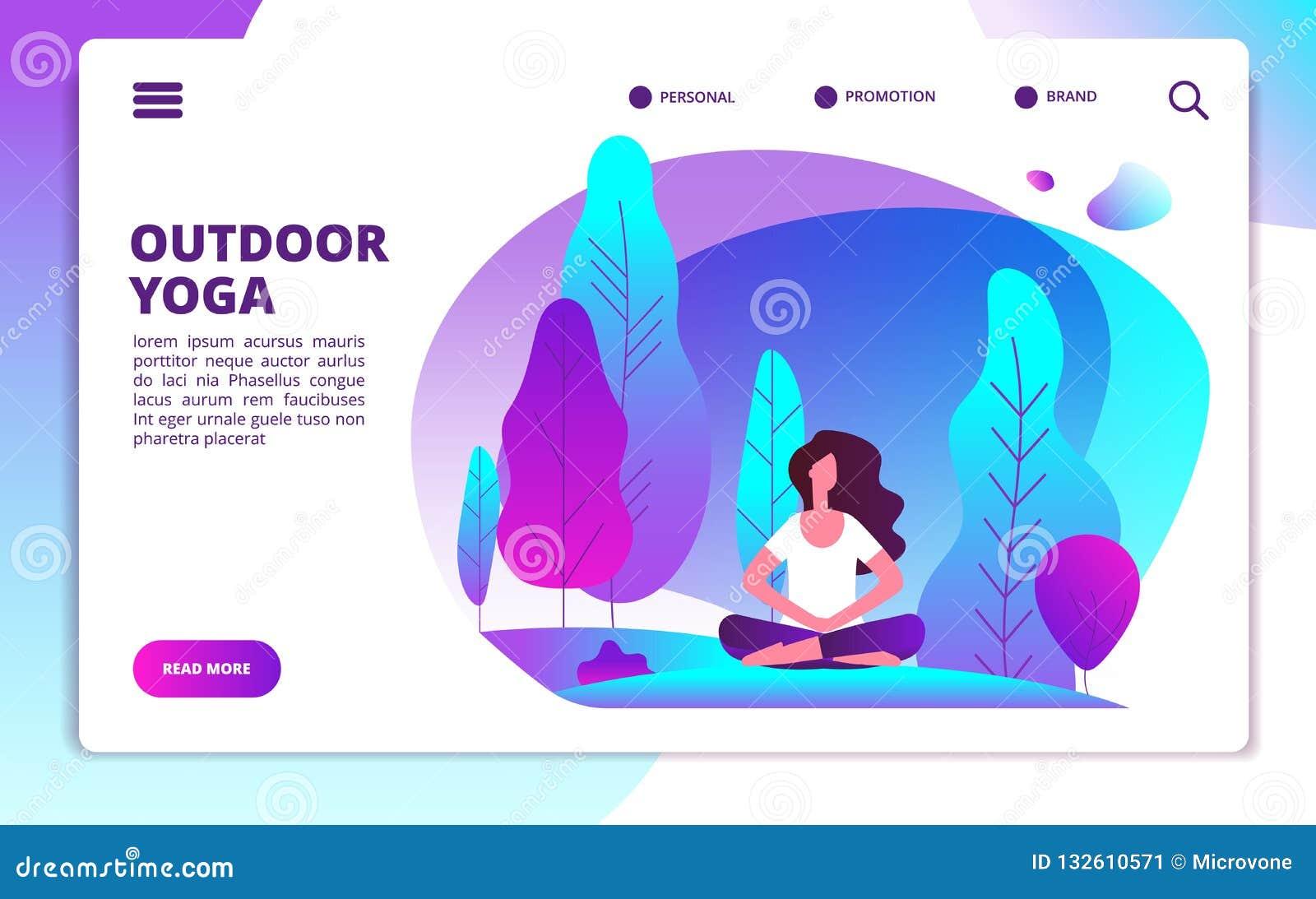 Yogalandingspagina Vrouw die geschiktheidstraining doen Het gezonde leven en meditatie in bosweb vlakke ontwerpsjabloon