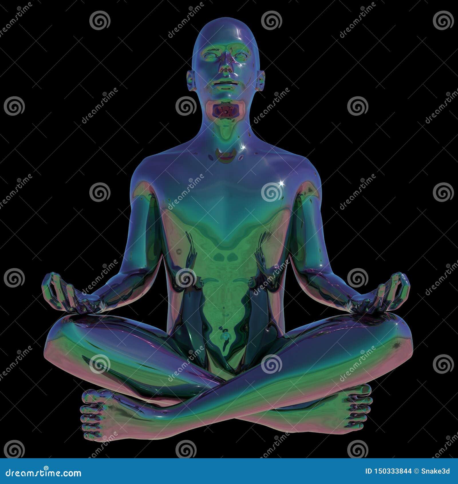 Yogalotusblomma poserar mannen stiliserade mänsklig mental avkoppling