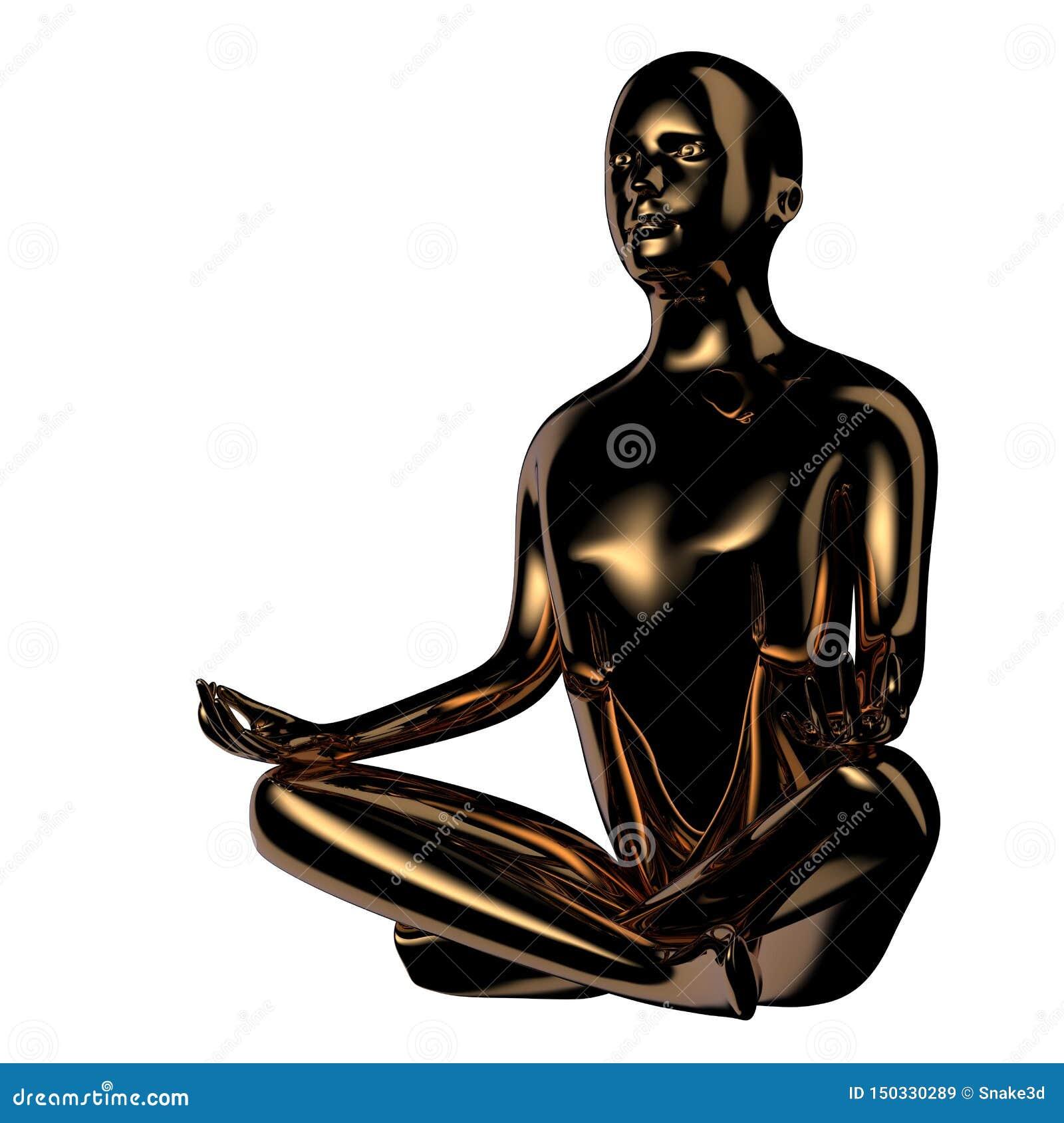 Yogamanlotusblomma poserar det stiliserade diagramet guld- mörka reflexioner
