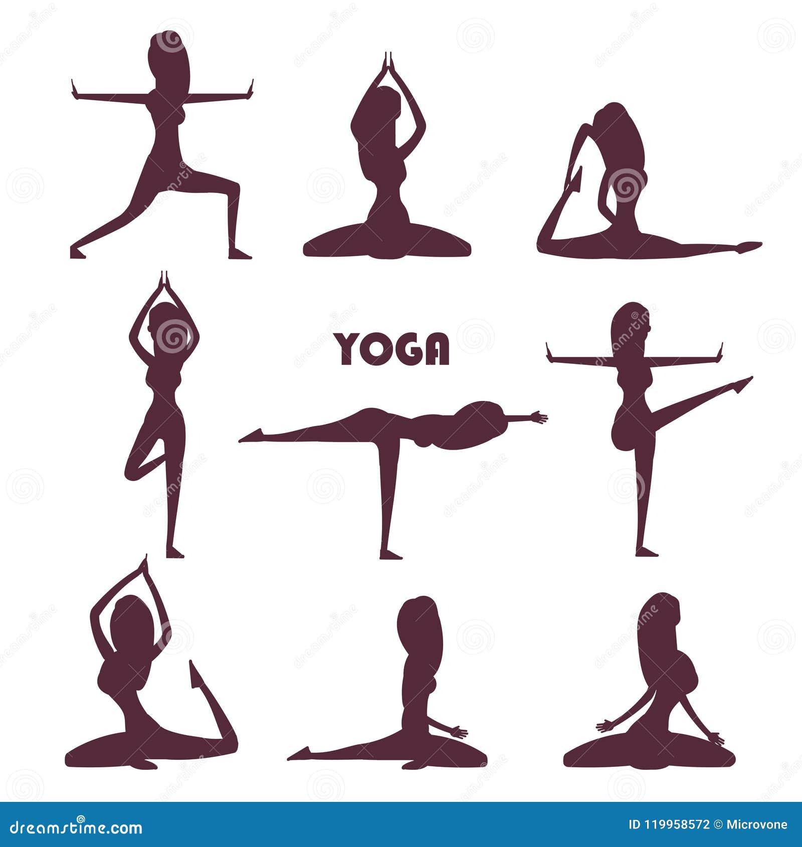 Yogaoefeningen en meditatie vrouwelijke silhouetten