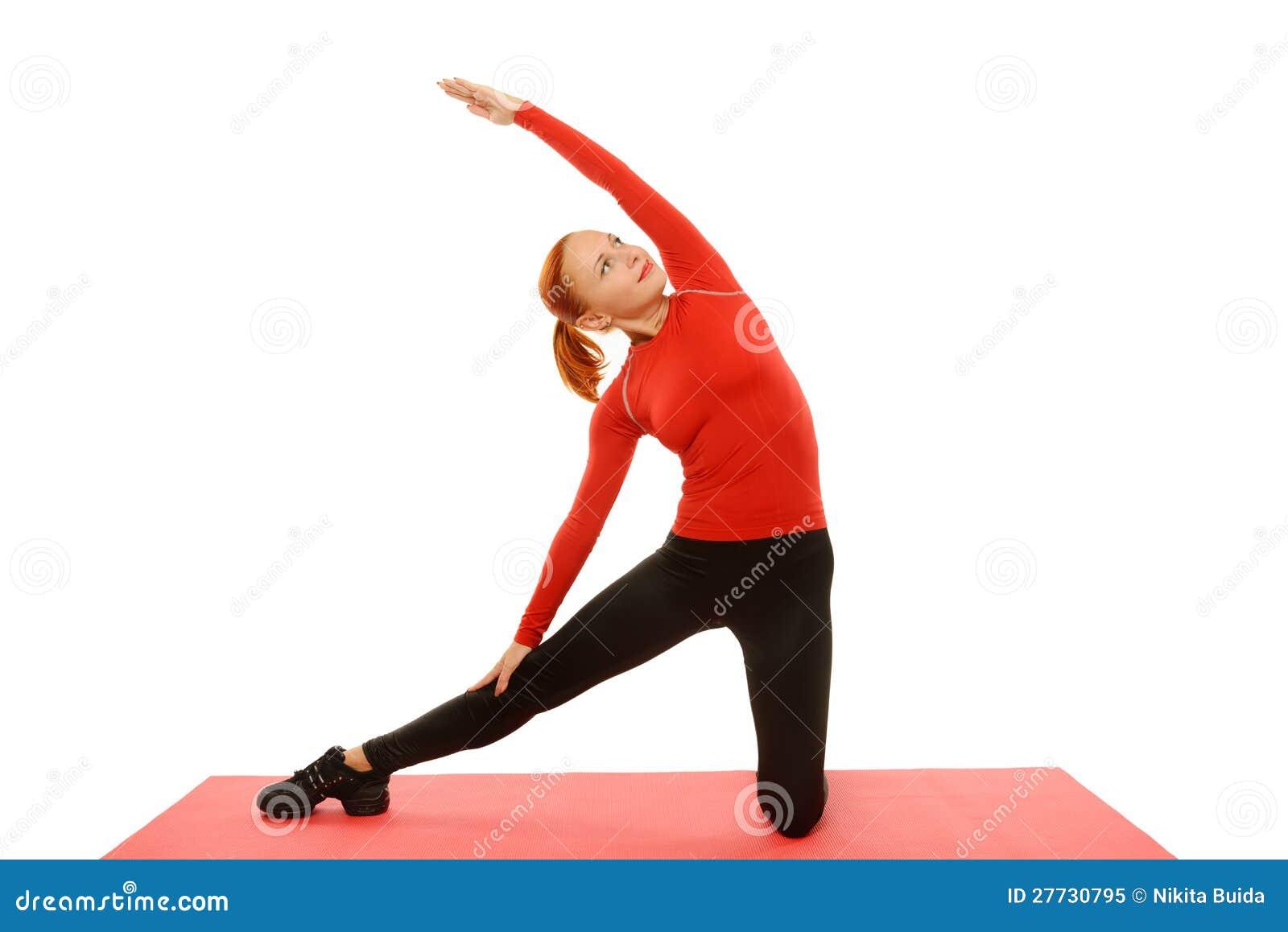 Yogapraxis. Frau, die asana tut