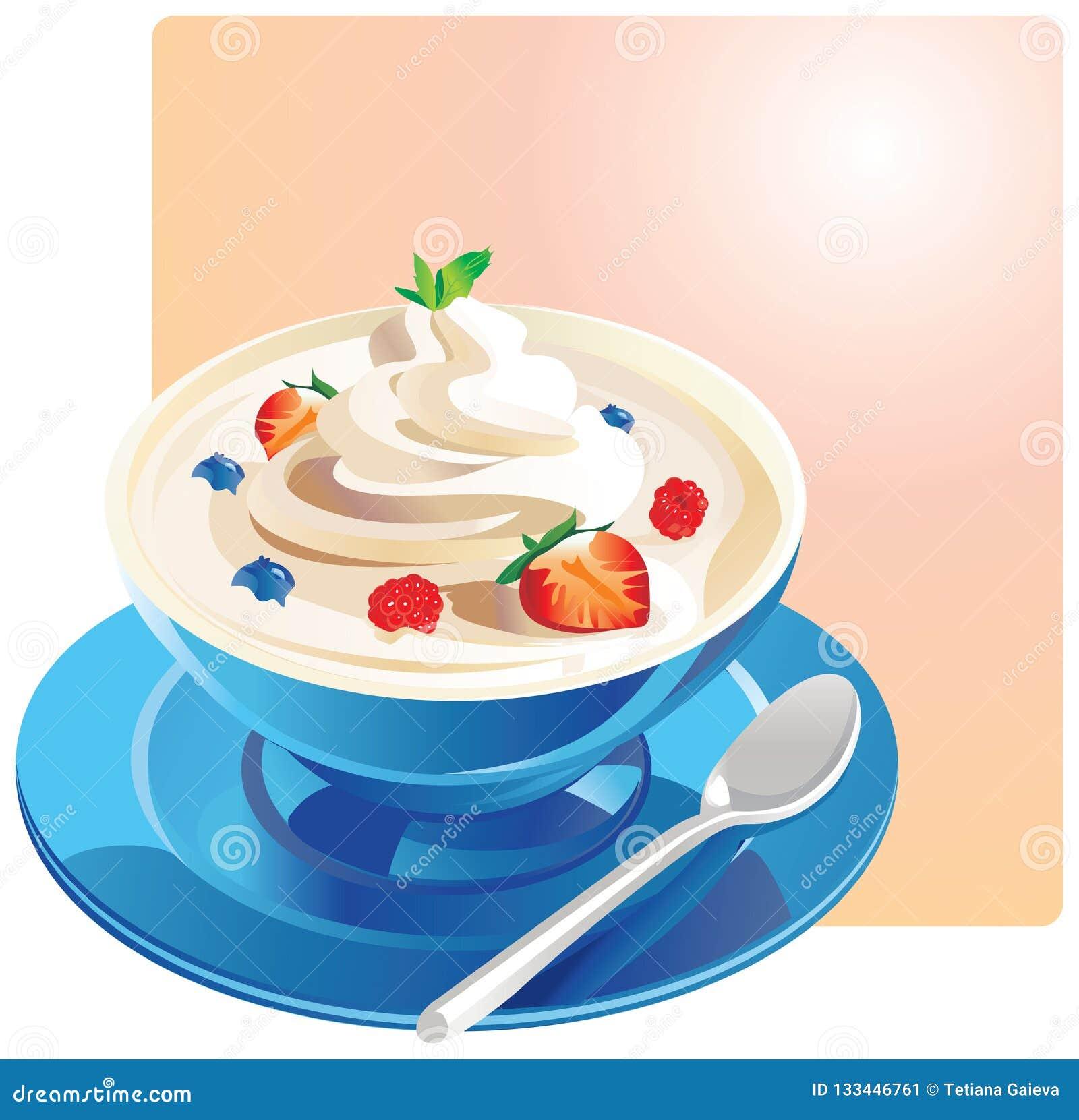 Yoghurt med frukt i en blå bunke