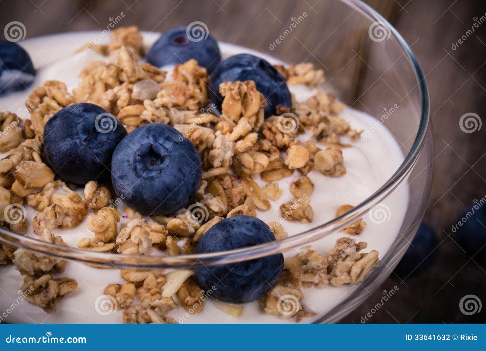Yoghurt med granola och blåbär.