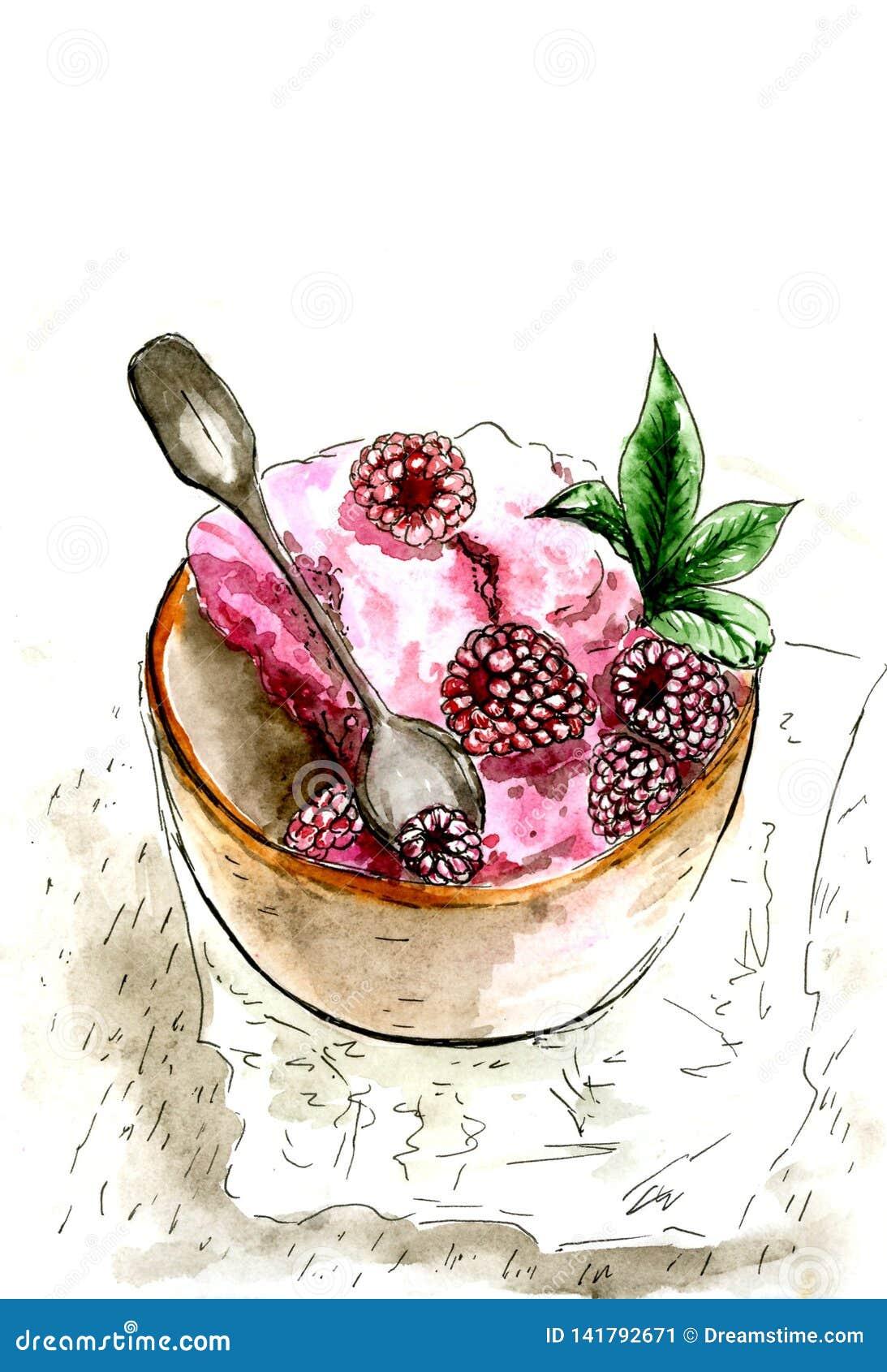 Yoghurt med hallon och mintkaramellsidor Målat i vattenfärg