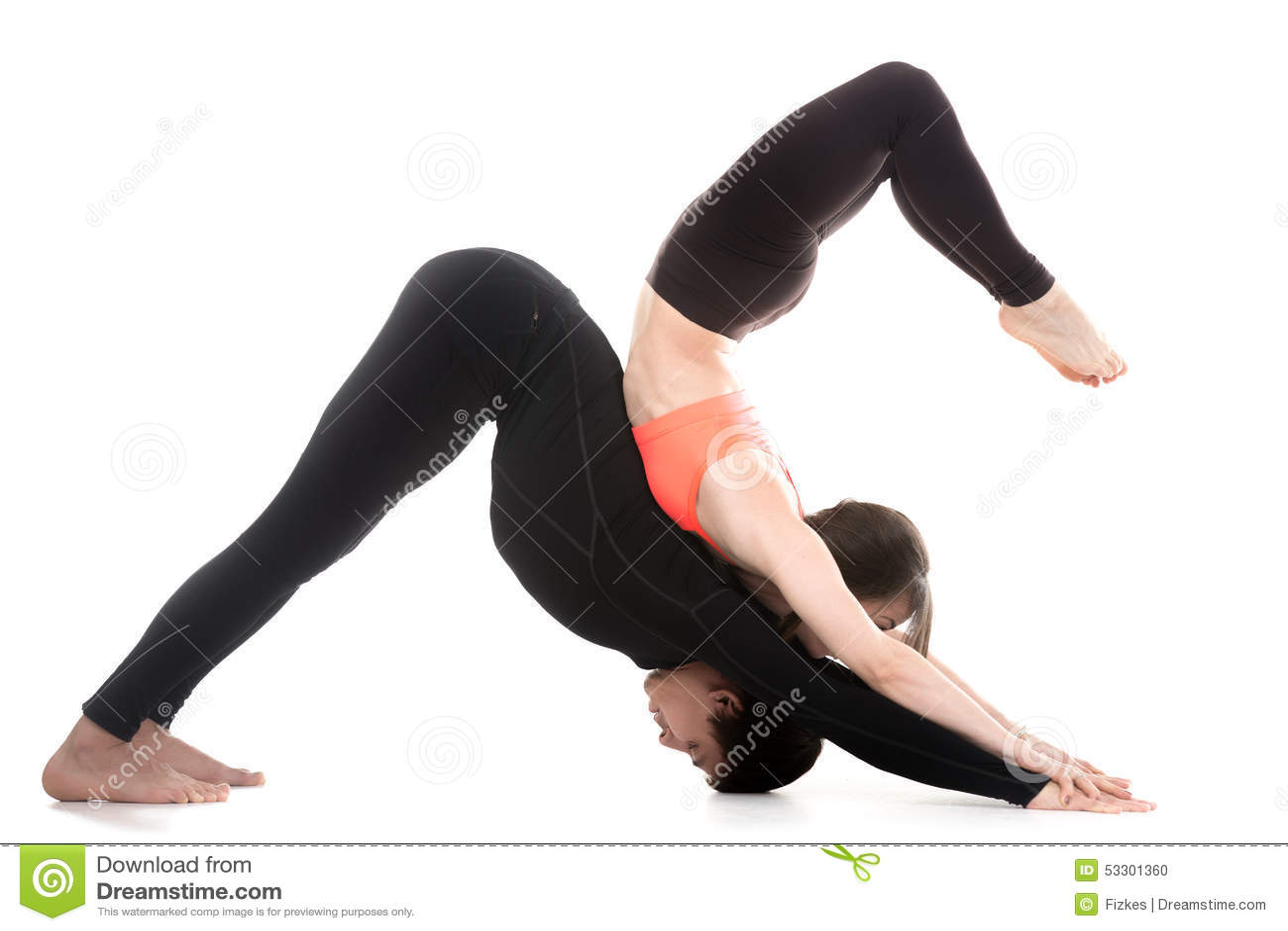 Top Acroyoga, Downward-facing Dog Yoga Pose Stock Photo - Image: 53301388 XC83