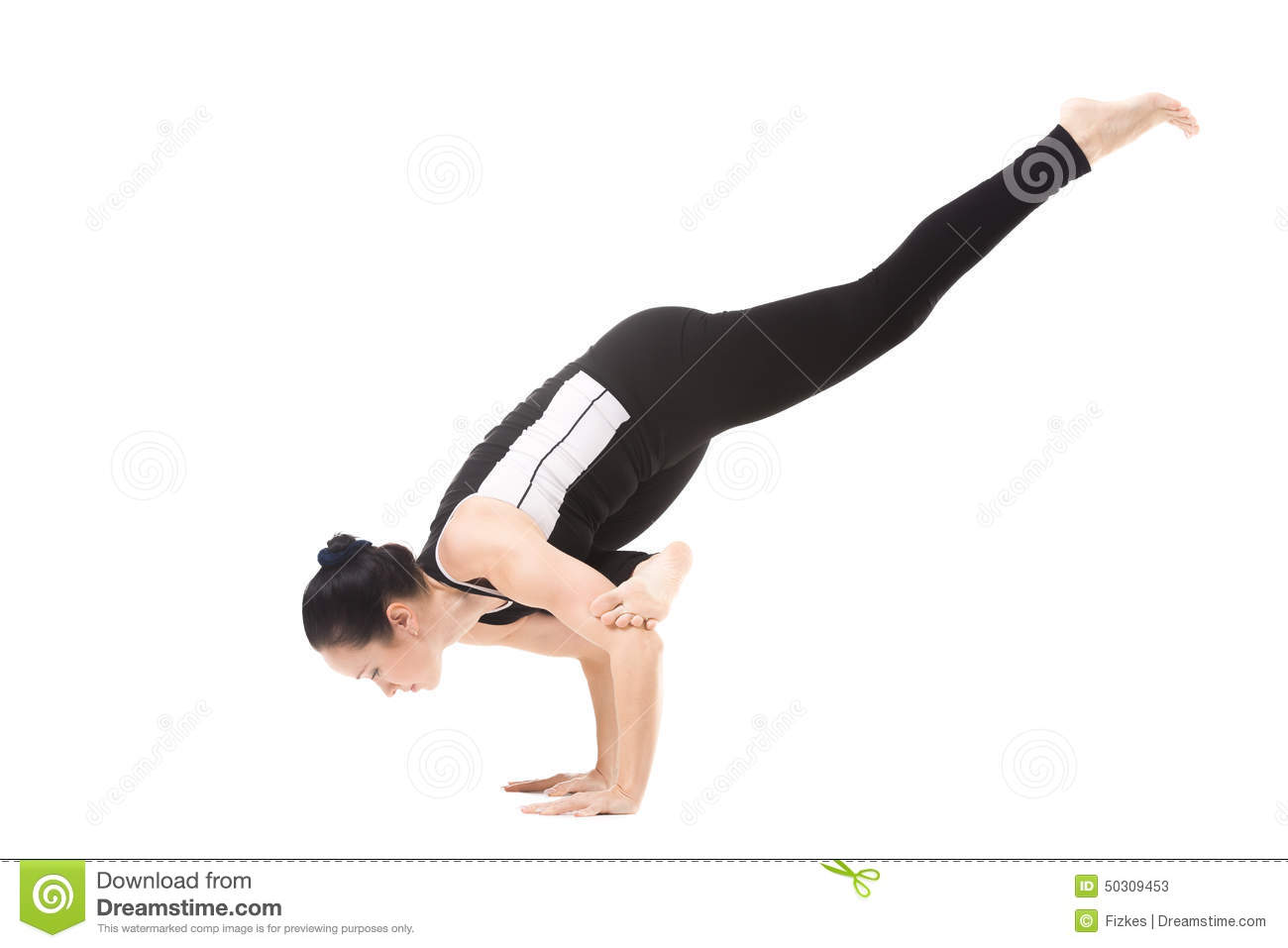 Yogi Female In Yoga Flying Pigeon Pose Stock Image - Image ...