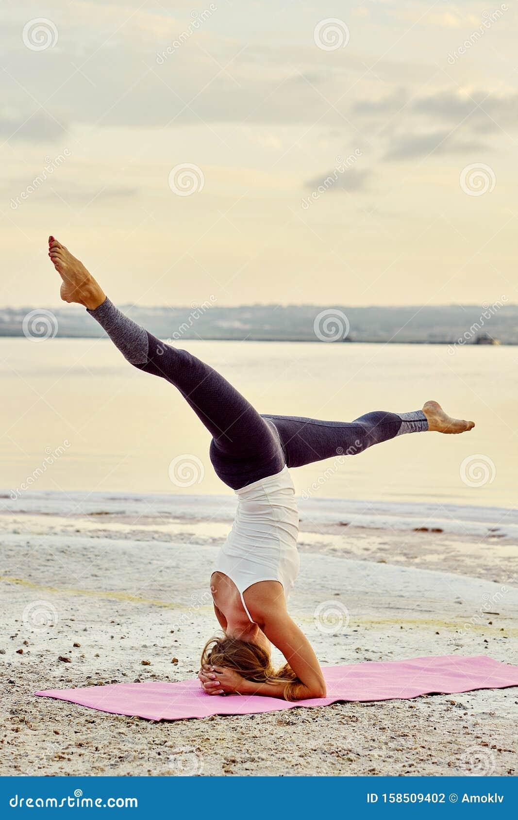 Yogi Woman Practising Yoga Outdoors Doing Salamba ...