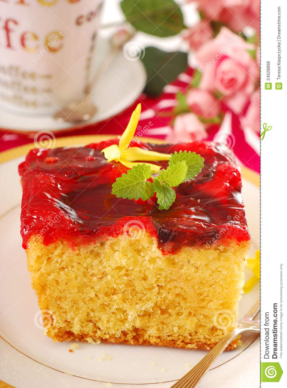 Cake With Fruit Yogurt : Yogurt Cake With Fruit Jelly Royalty Free Stock Photos ...