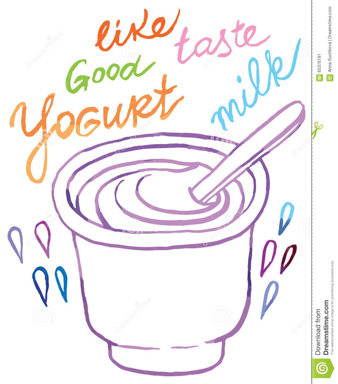 Yogurt Line Drawing : Yogurt stock vector illustration of line lunch doodle