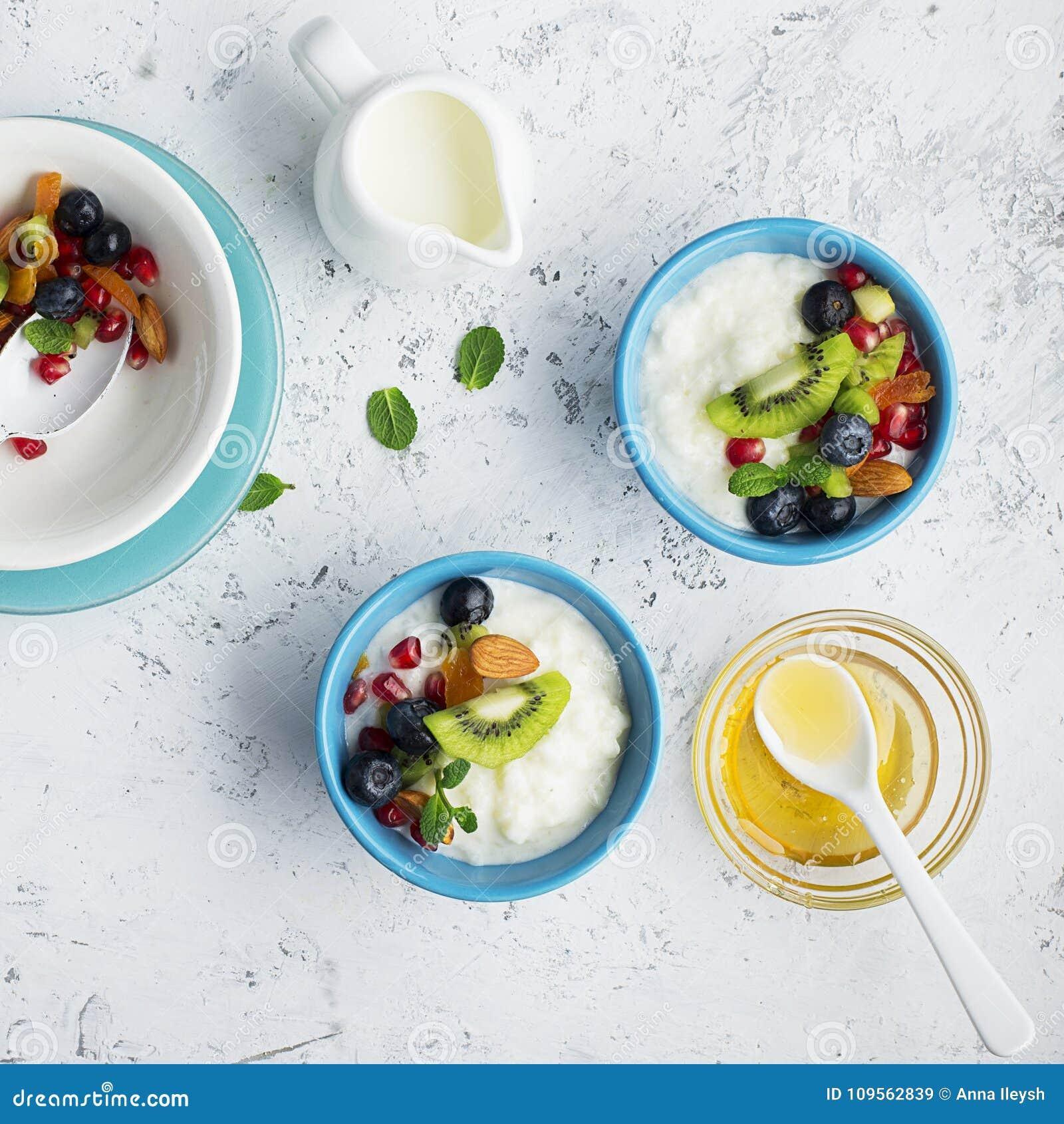 Yogurt Milk Porridge Granola For Breakfast With Different