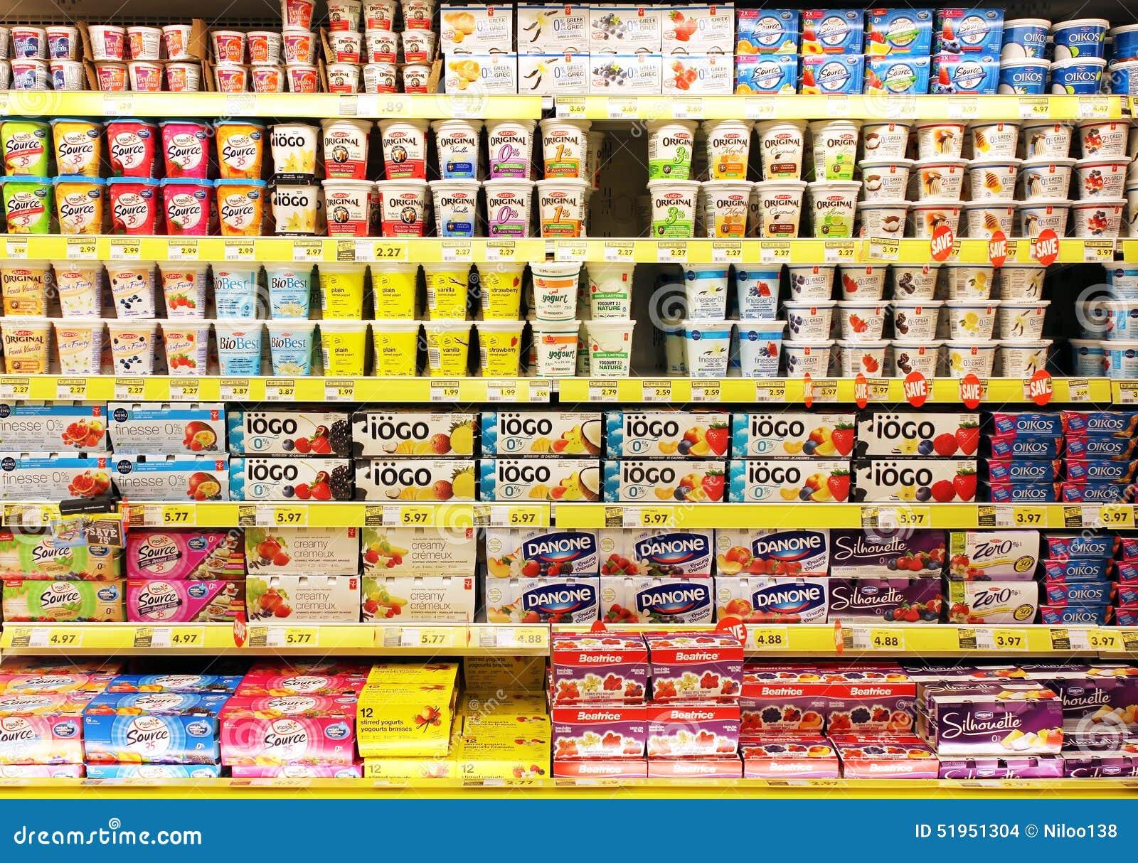 Yogurt Selection In Supermarket Editorial Stock Image
