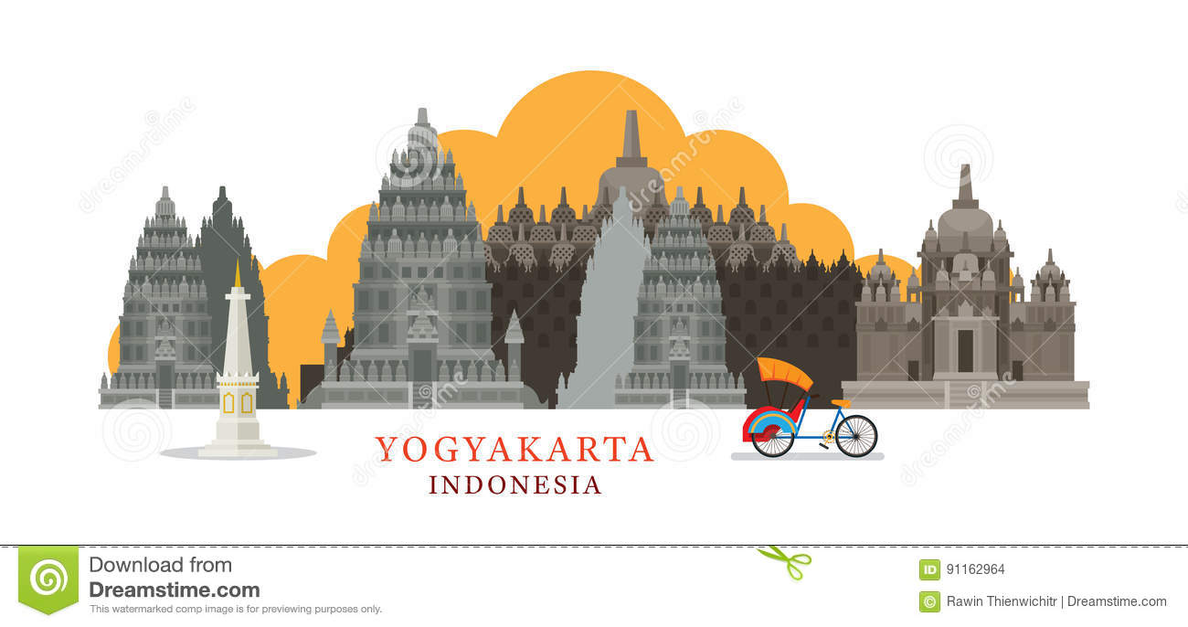 Line Art Yogyakarta : Prambanan cartoons illustrations vector stock images