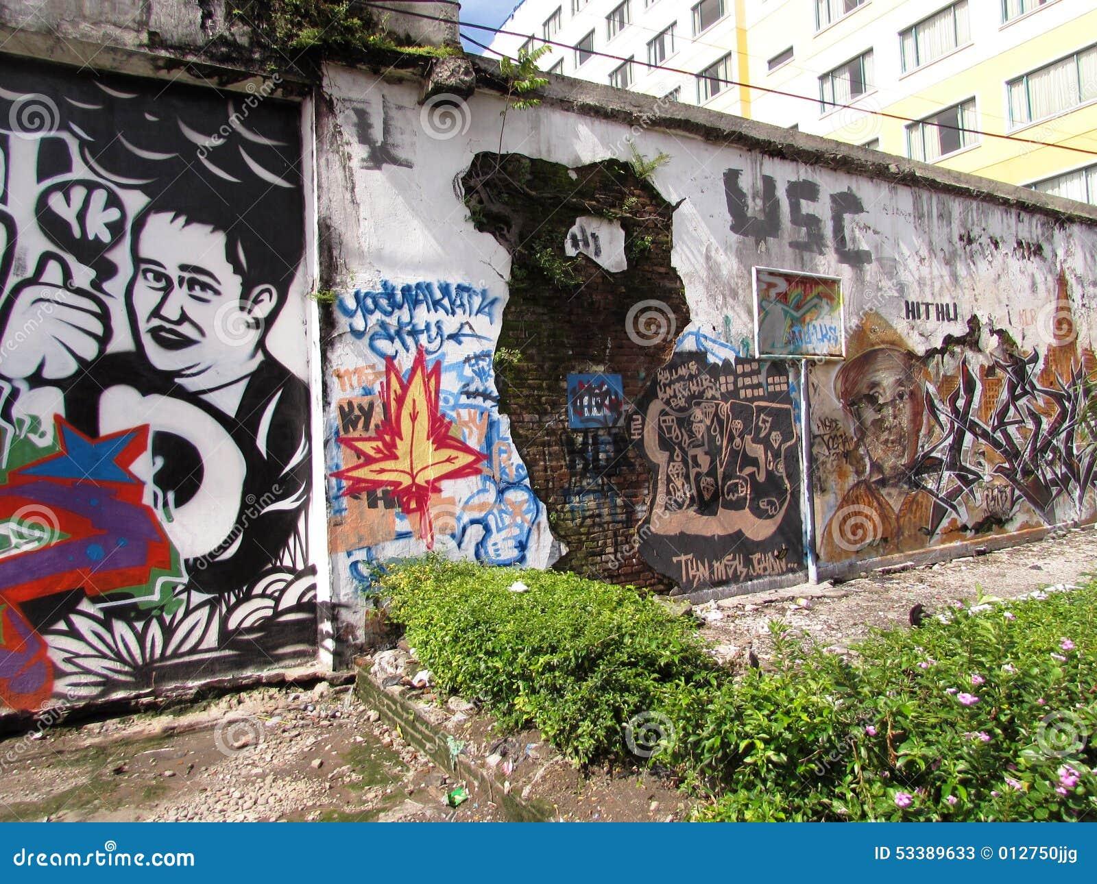Yogyakarta wall art - Indonesia 2 & Yogyakarta Wall Art - Indonesia 2 Editorial Stock Photo - Image of ...