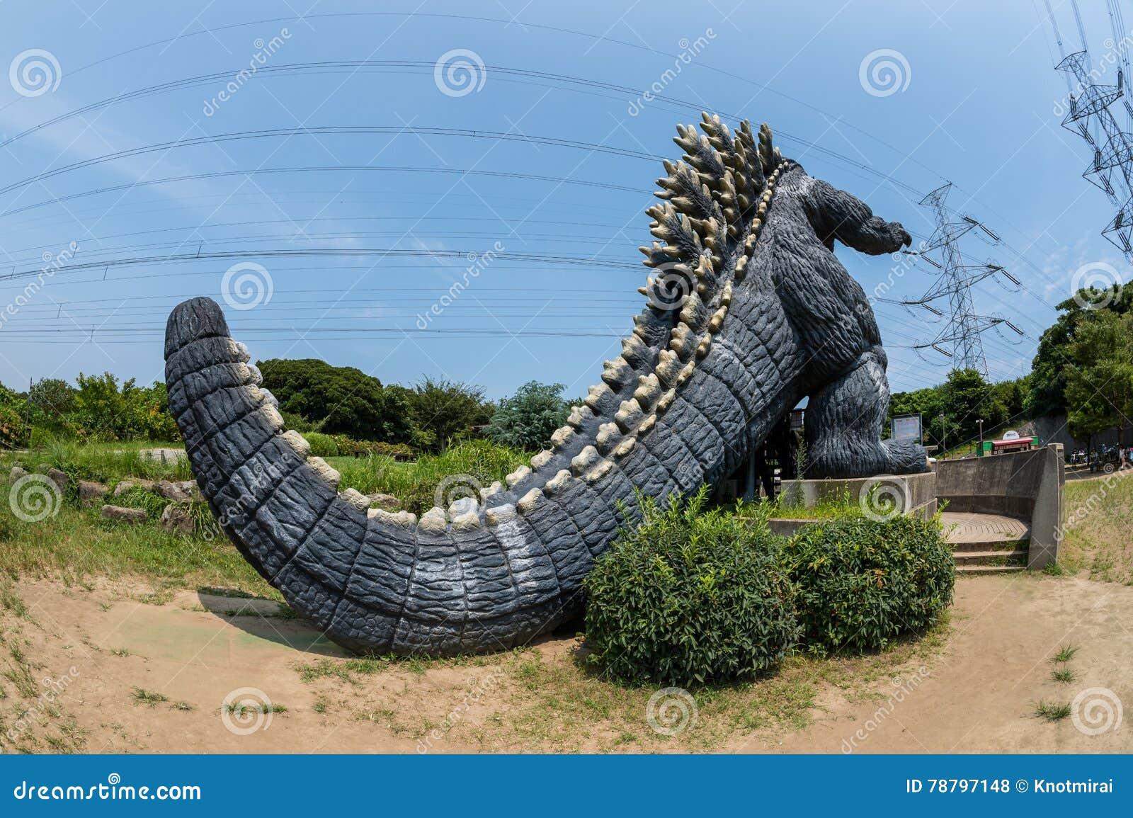 YOKOSUKA, Japan - AUG 14, 2016: A rear view of famous monster Godzilla in Yokosuka, Kanagawa, Japan
