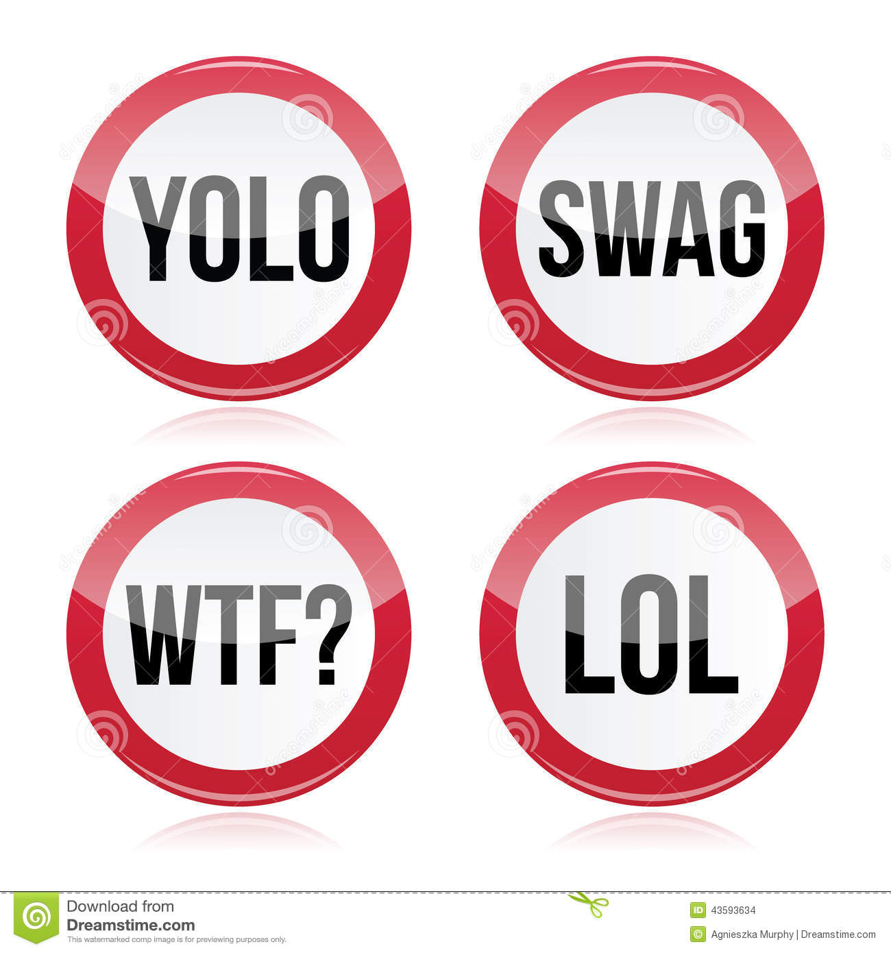 Yolo swag wtf lol signs stock illustration image 43593634