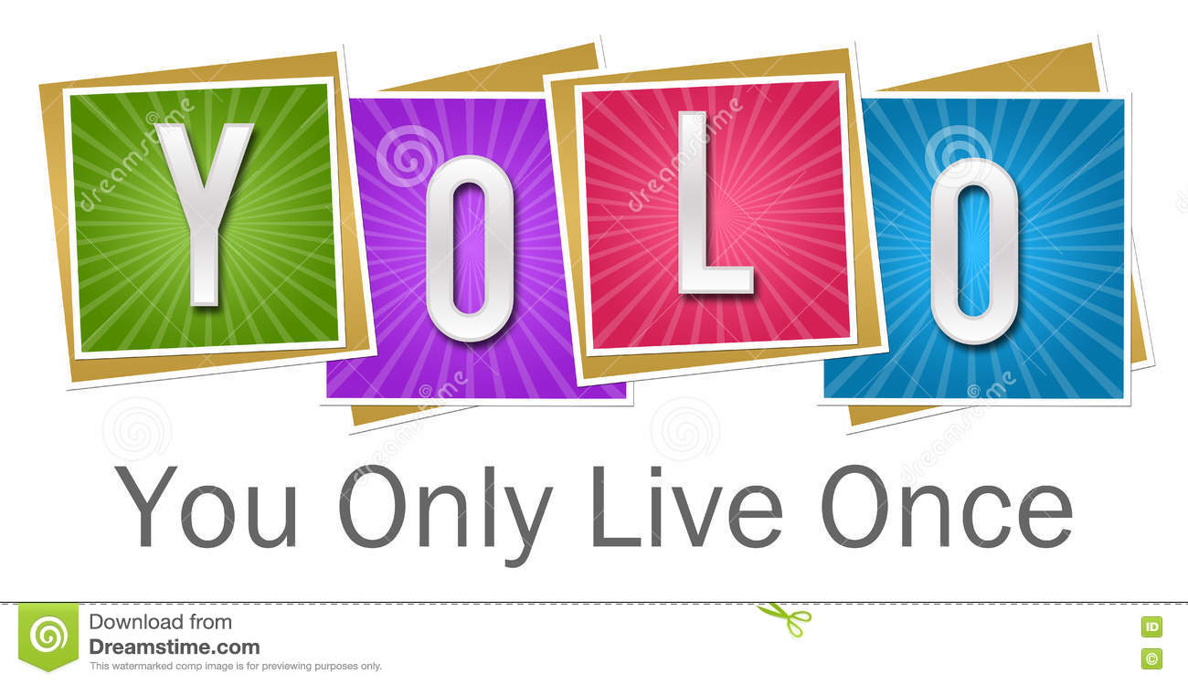 YOLO - Usted solamente Live Once Colorful Squares Bursts