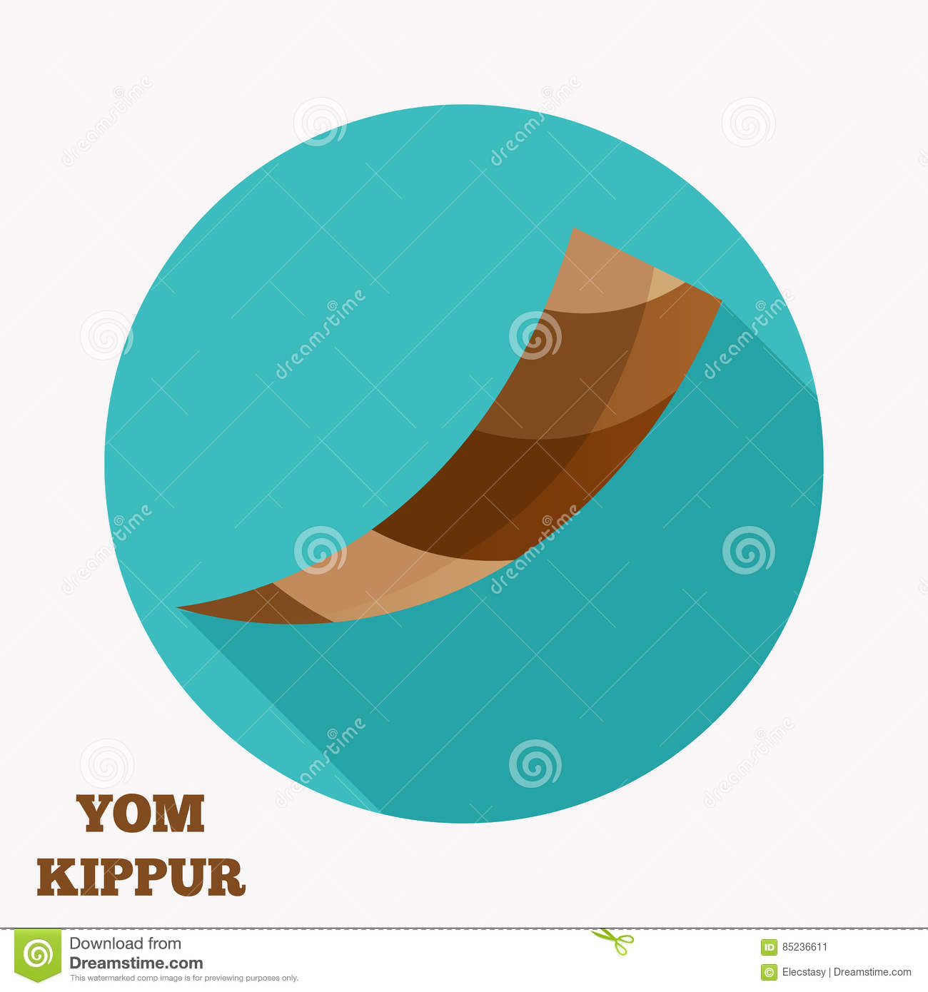 Yom Kippur Shofar Flat Icon Stock Vector Illustration Of Flat