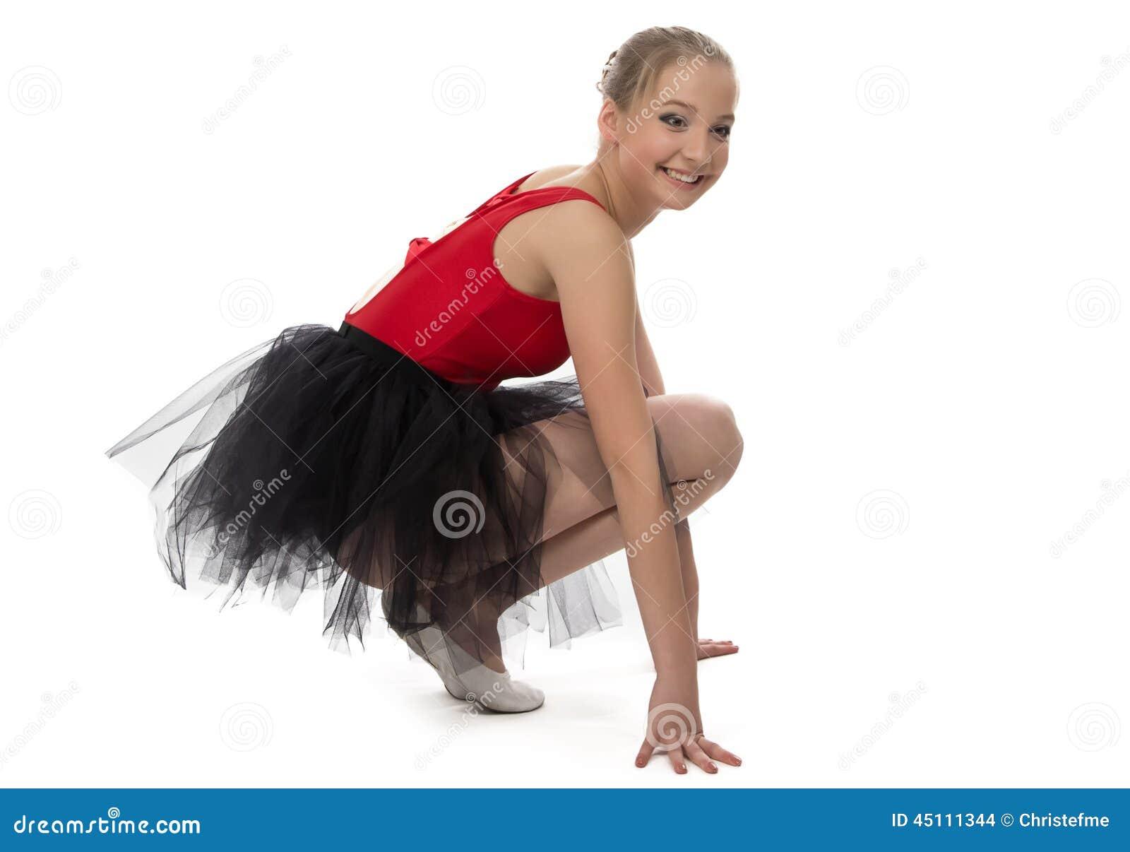 Yong baleriny obsiadanie na haunches