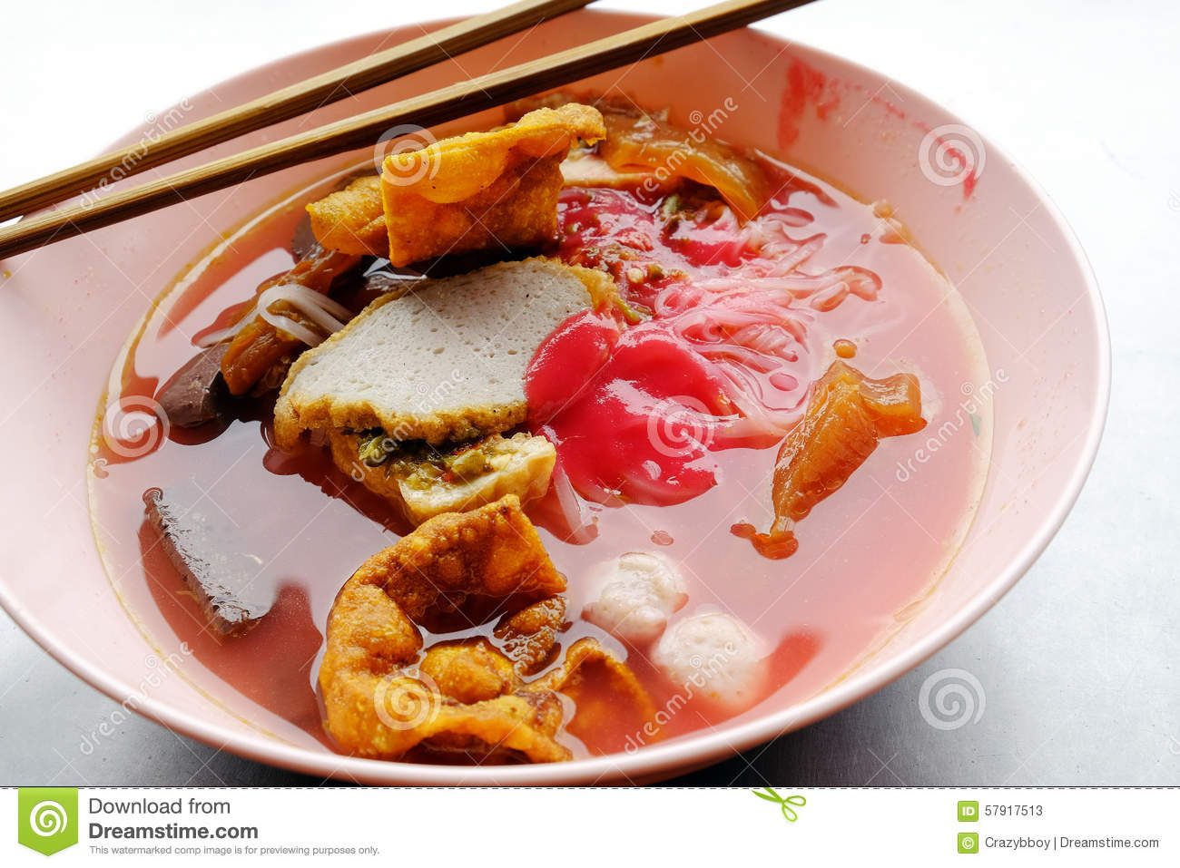 Yong Tau Foo Asian Noodle In The Red Soup Stock Image Image Of