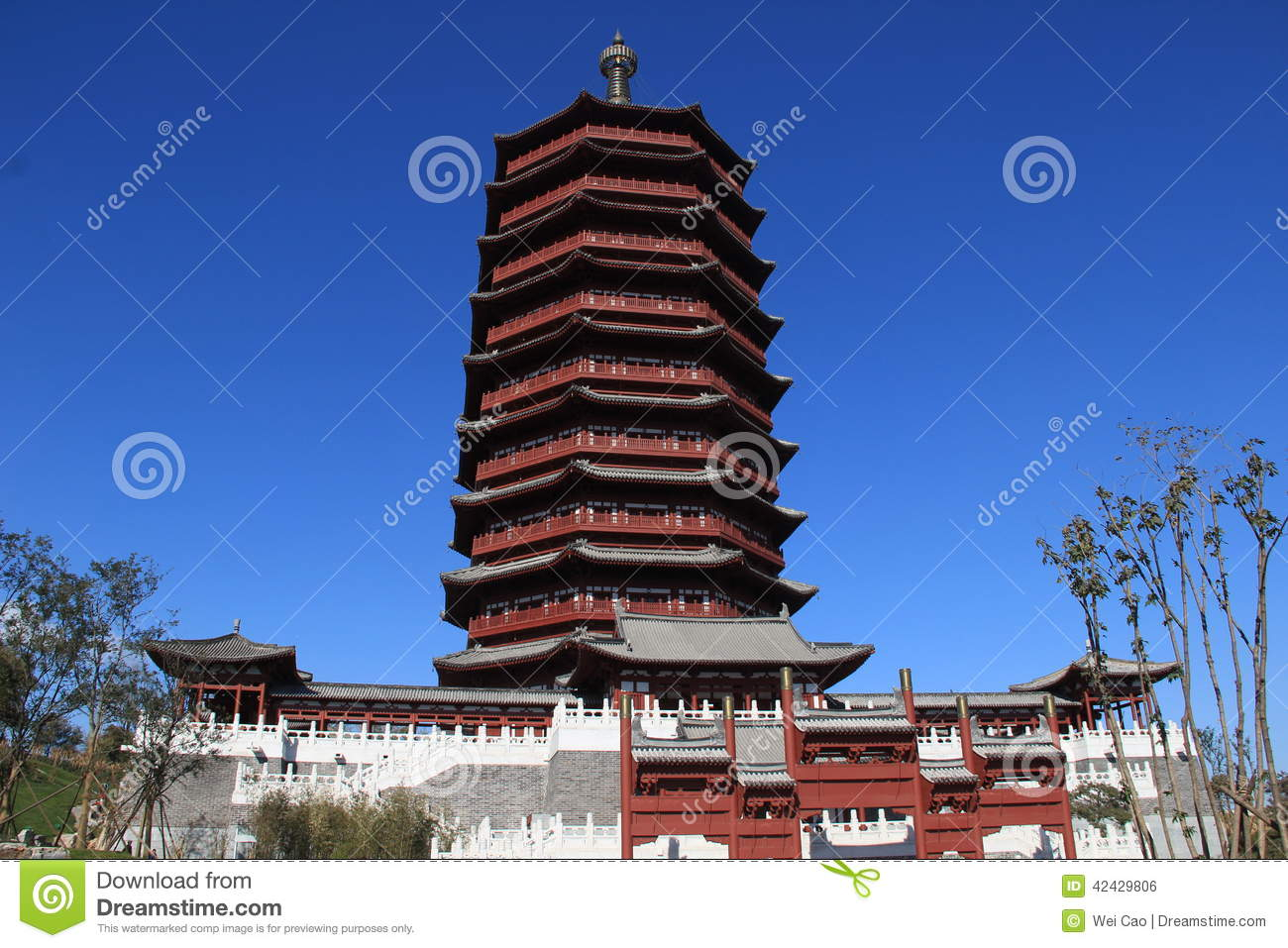 Yongding tower stock photo image 42429806 for Architecture orientale