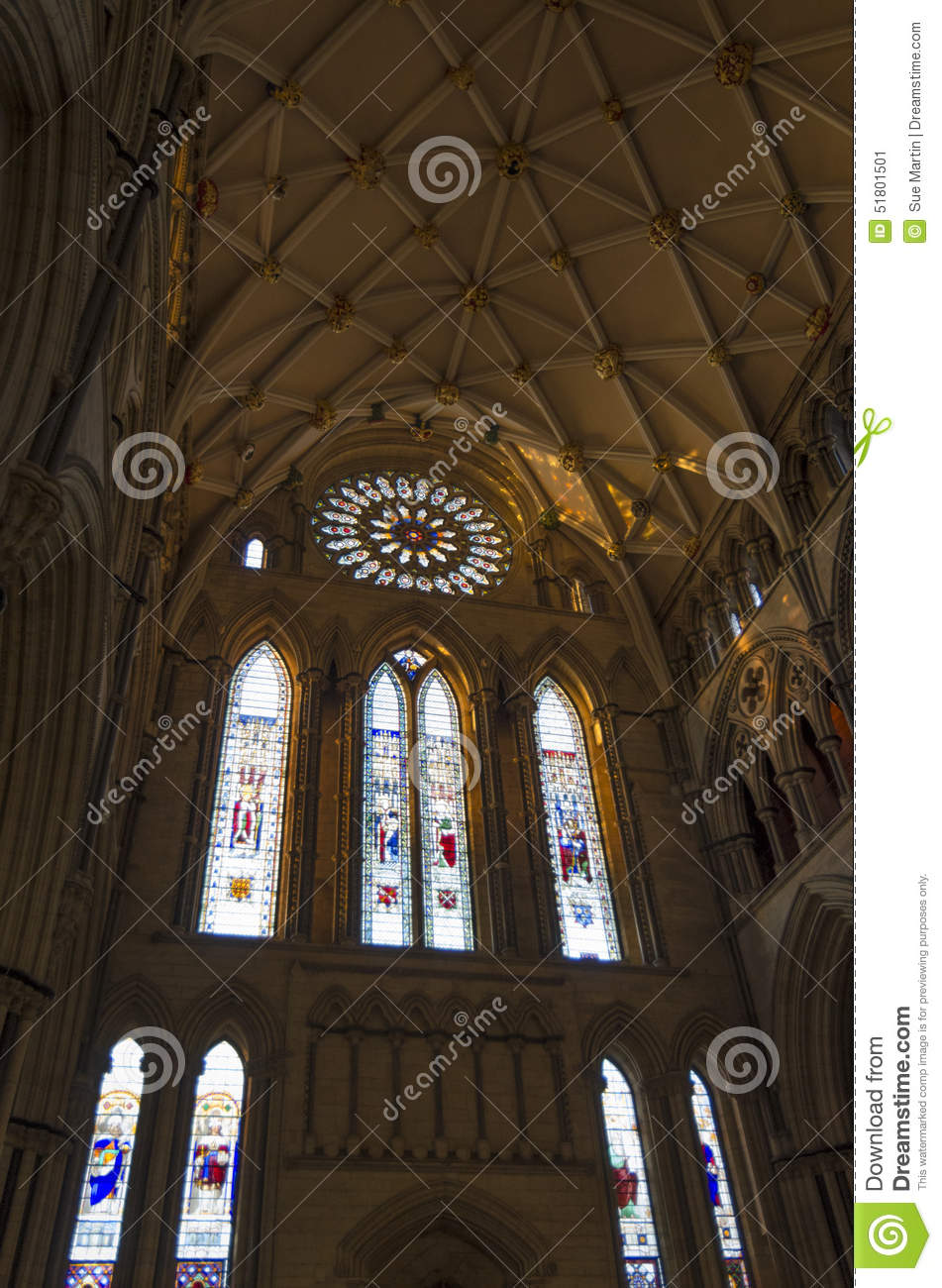 York minster south transept with rose window stock photo for Rose window york minster