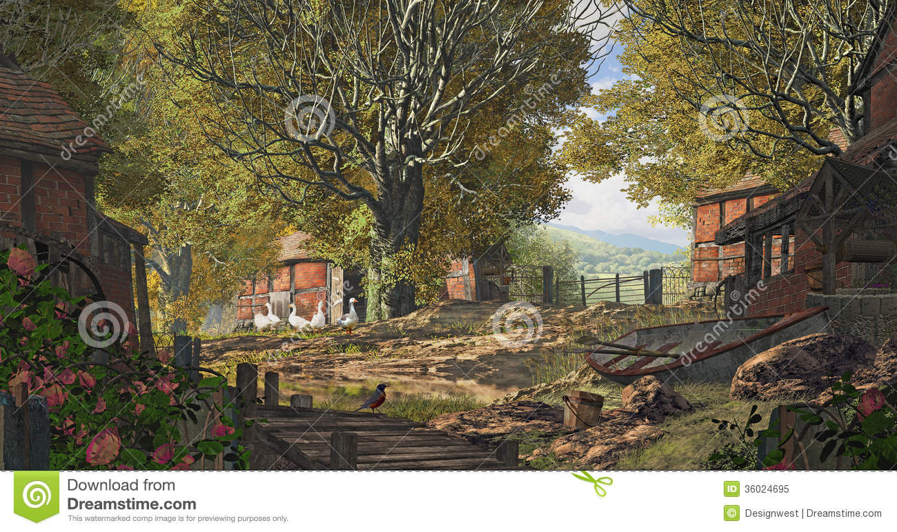 yorkshire country farm old scene placed england brick barns geese rowboat 36024695