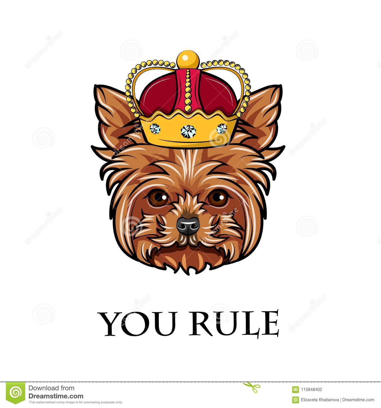 aa4be3e9f33ad Yorkshire Terrier Dog. Crown. Dog King