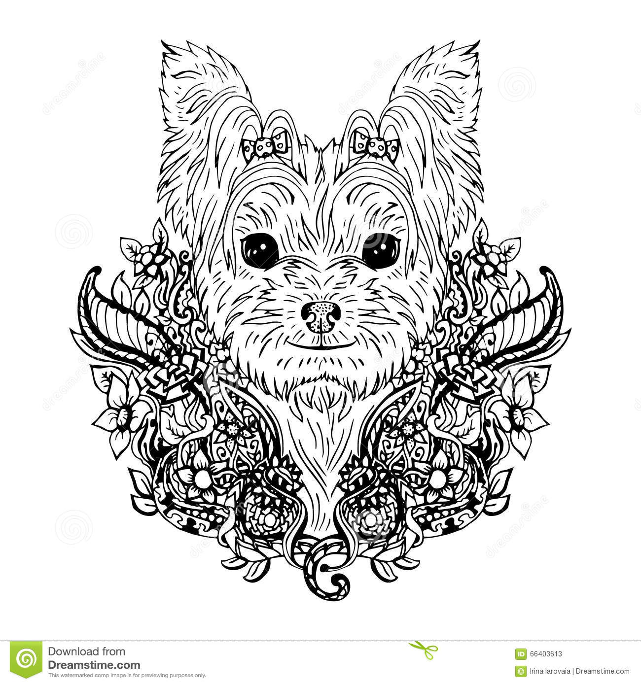Line Drawing Yorkie : Yorkshire terrier graphic dog abstract vector