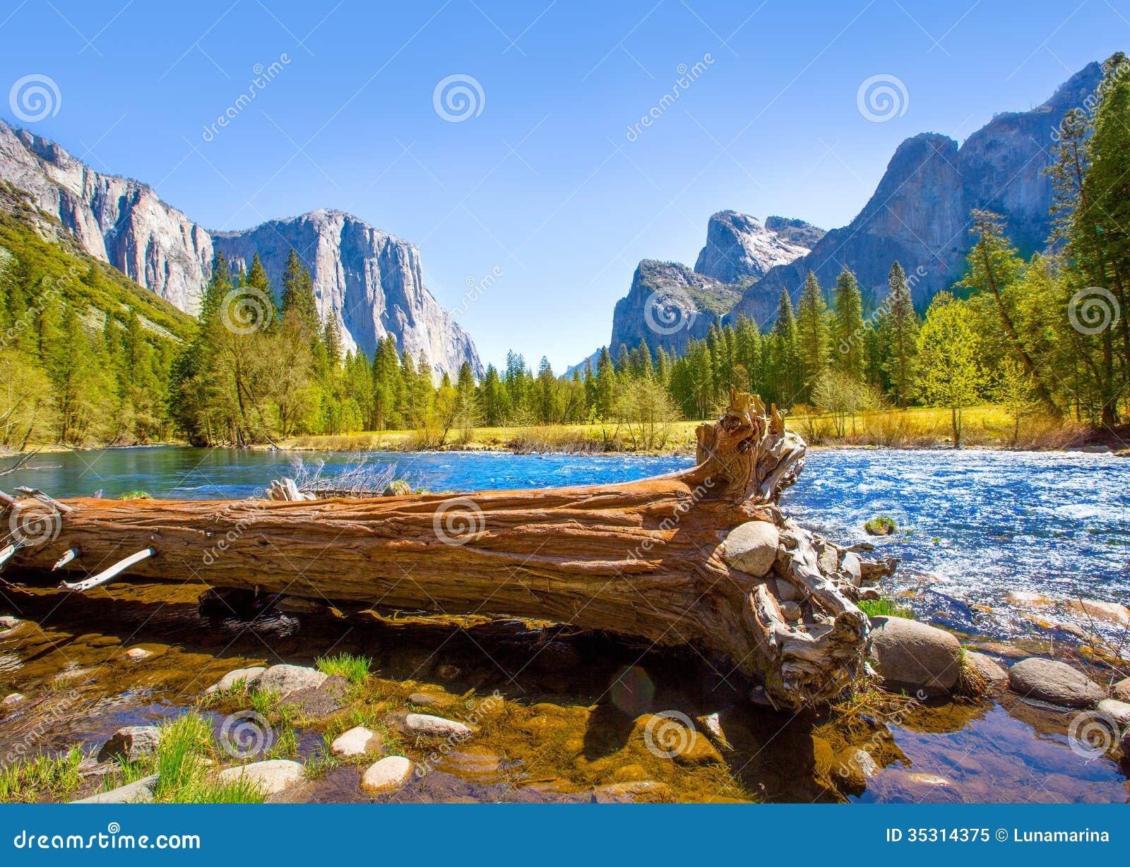 Download Yosemite Merced River El Capitan And Half Dome Stock Image - Image of river, rock: 35314375