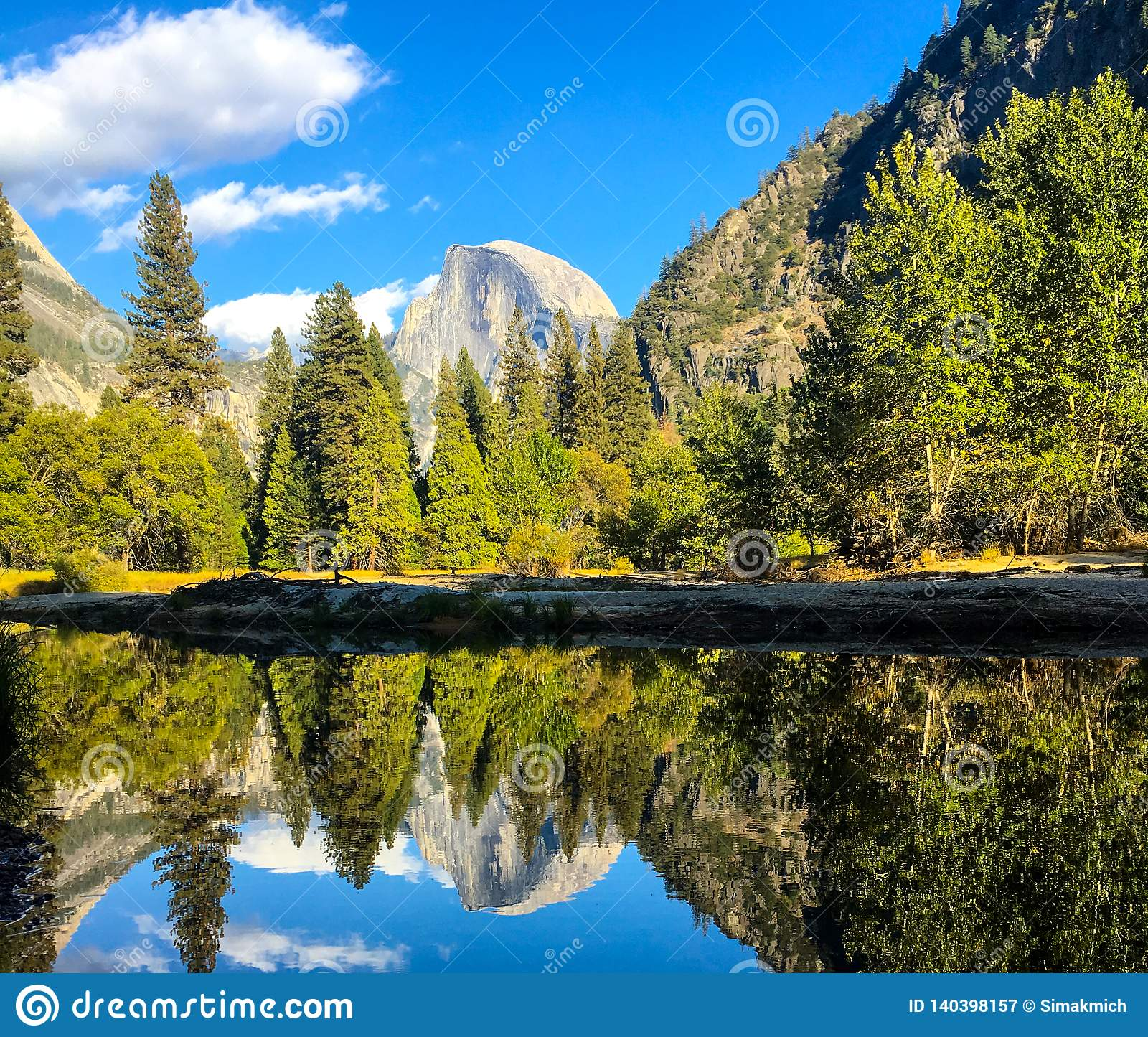 Yosemite mirror view for the majestic rock hidden by trees
