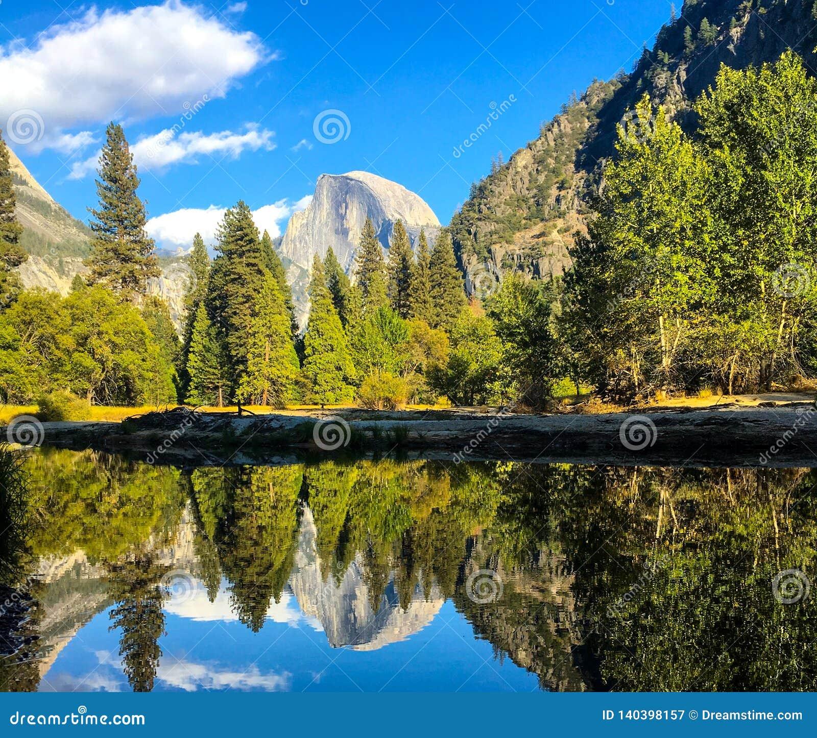 Yosemite odzwierciedla widok dla majestatycznej skały chującej drzewami
