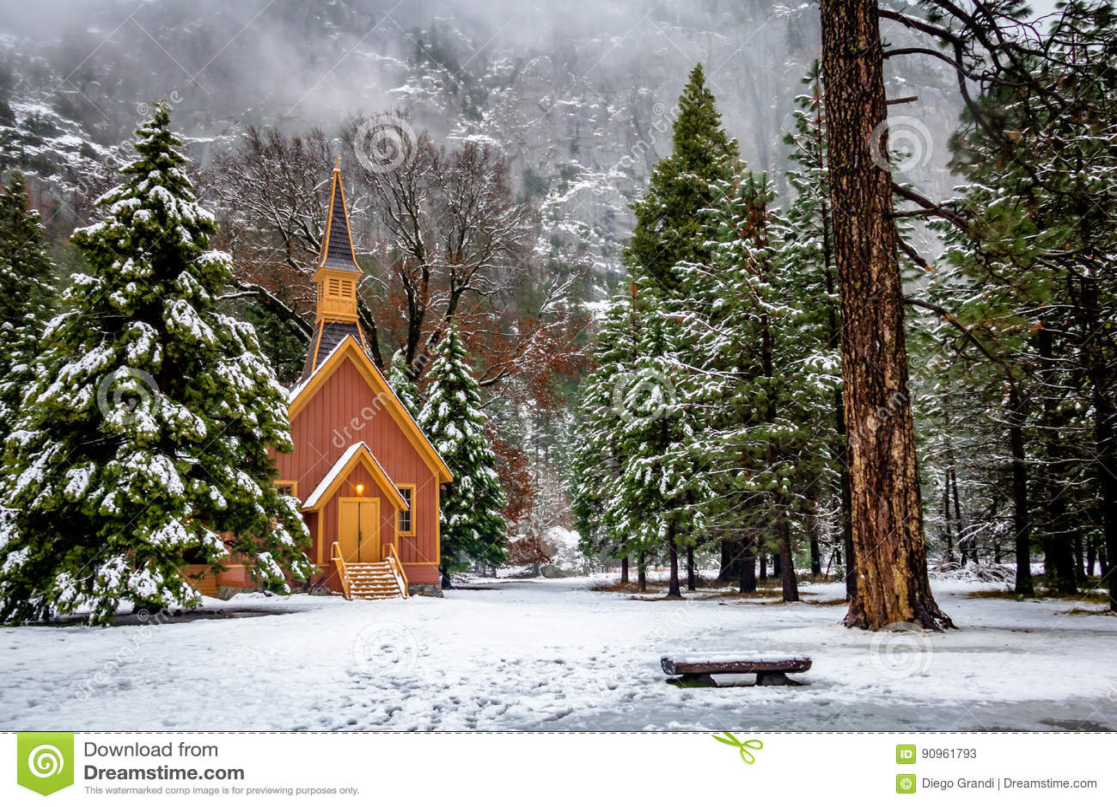 Yosemite Valley Chapel at winter - Yosemite National Park, California, USA