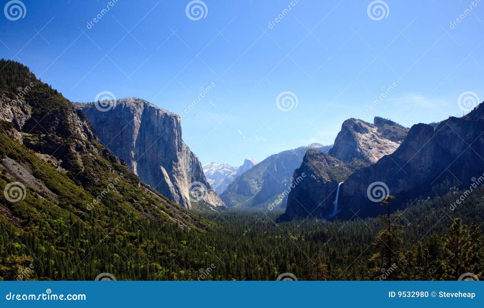Yosemite Valley with waterfalls