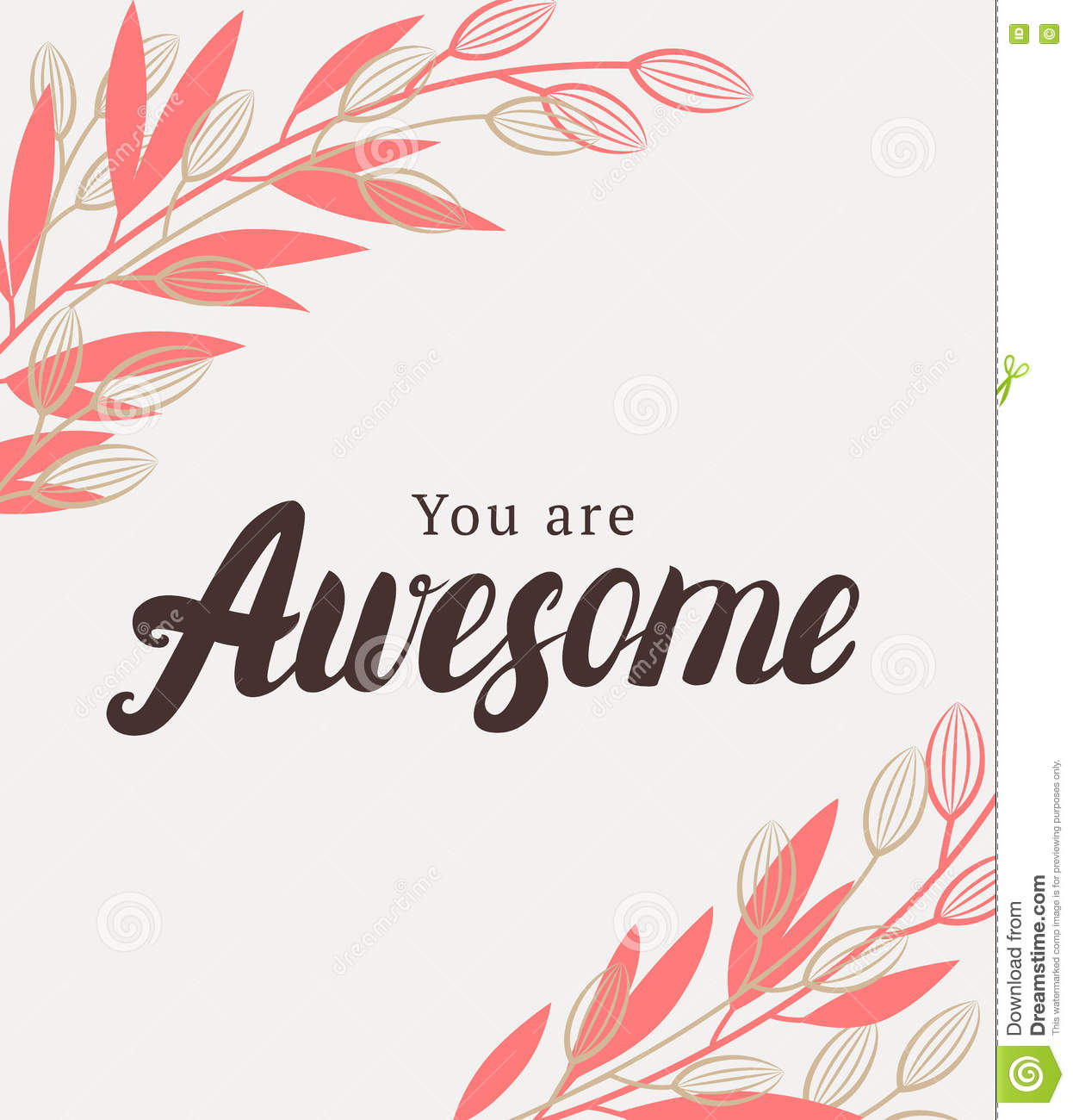 Motivational Quotes About Success: You Are Awesome Quote. Vector Illustration