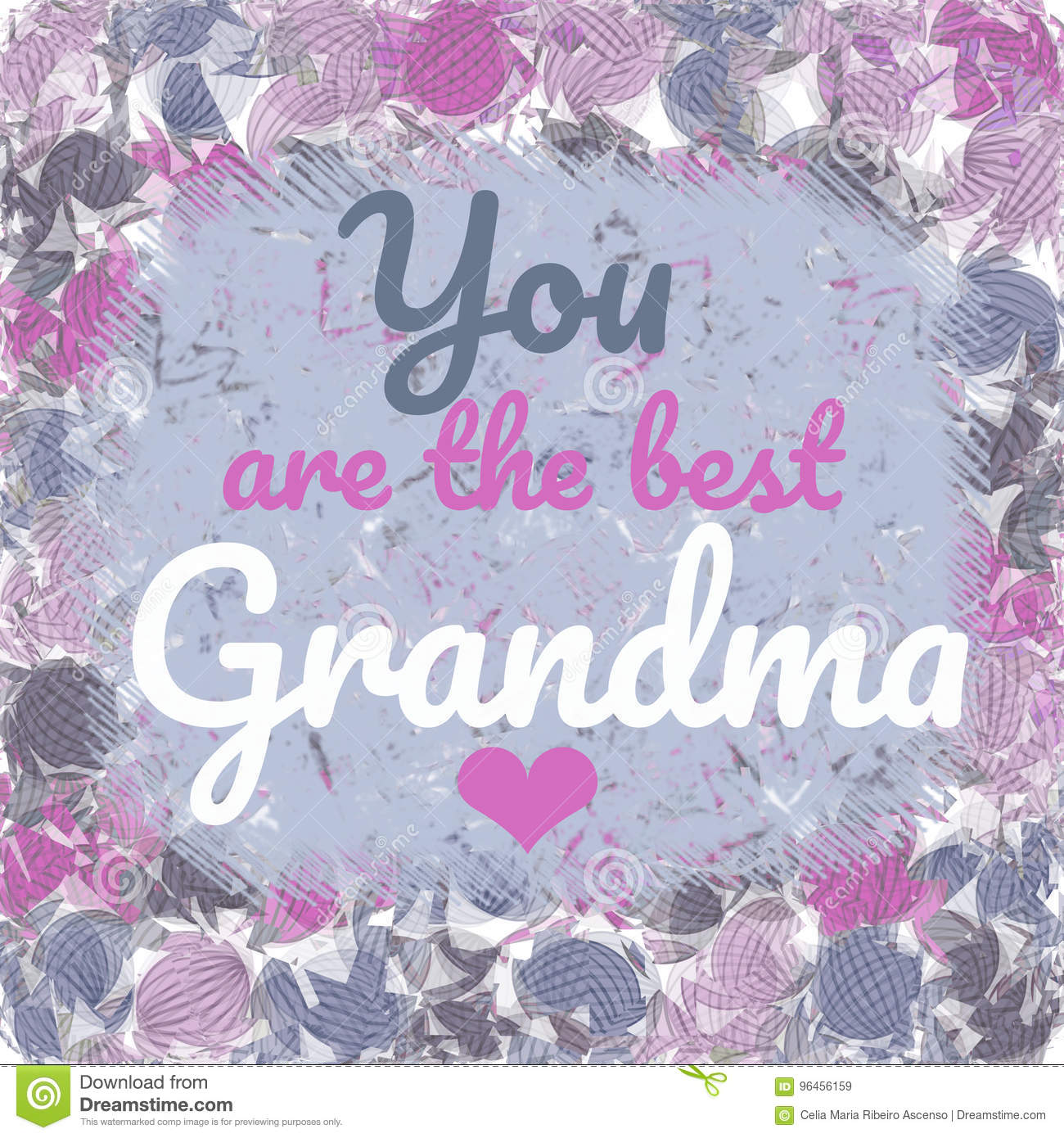 You Are The Best Grandma Greeting Card Message Stock Illustration