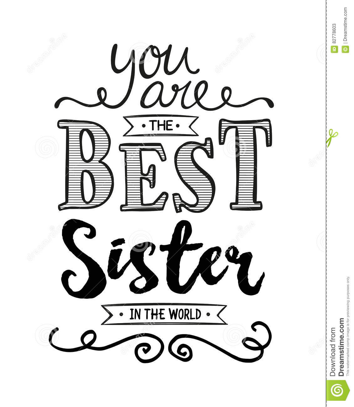 You Are The Best Sister In The World Stock Illustration