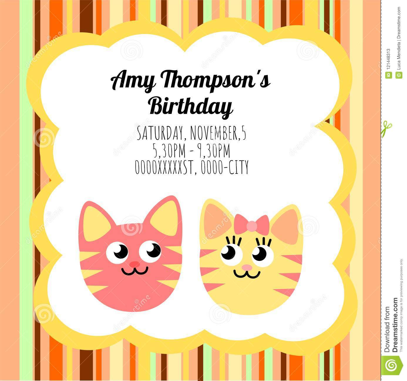 Cute Card Template Of A Birthday Invitation With Two Cats