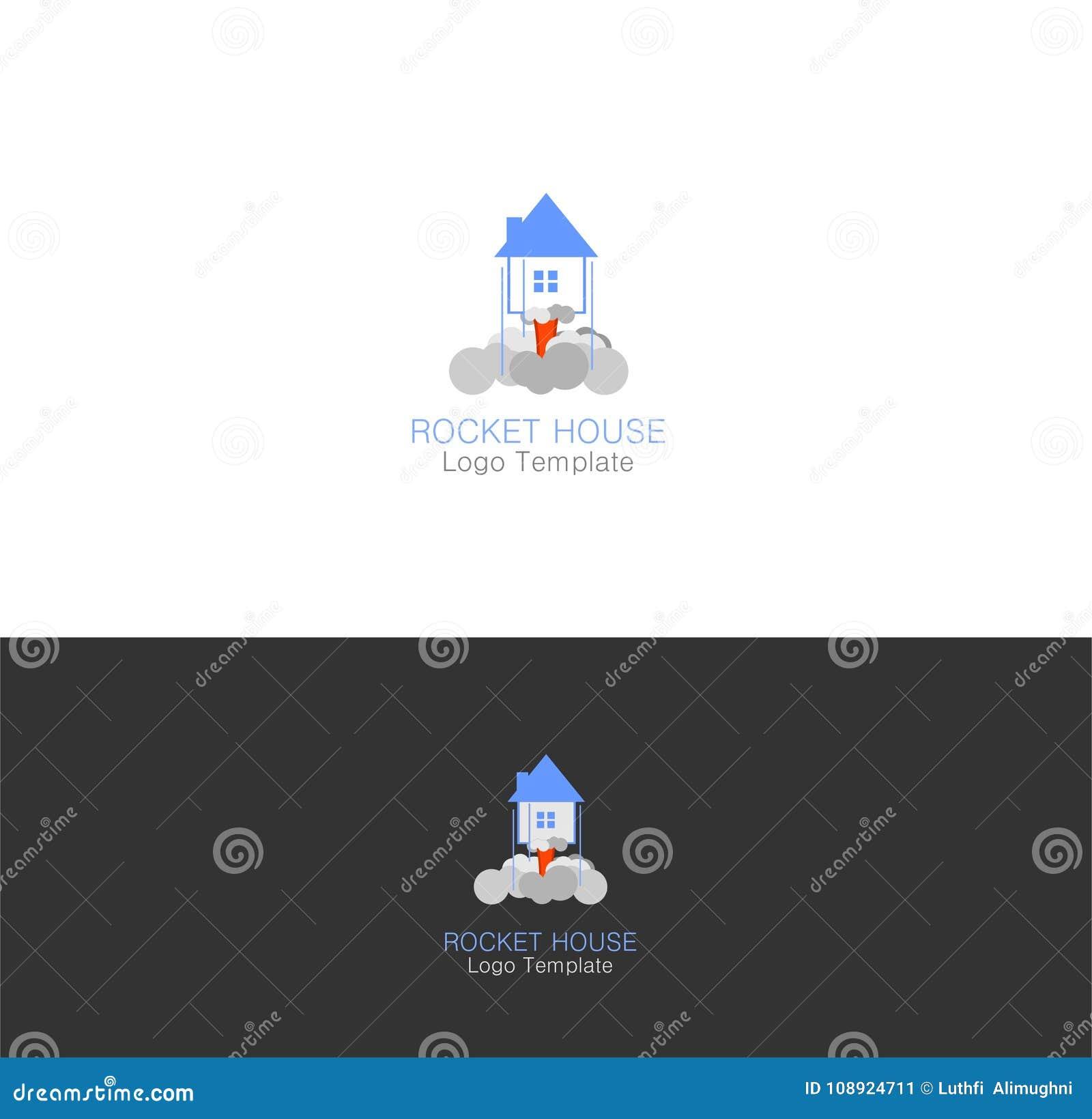 Rocket House Ready To Fly-fantasy Theme-logo Template Stock