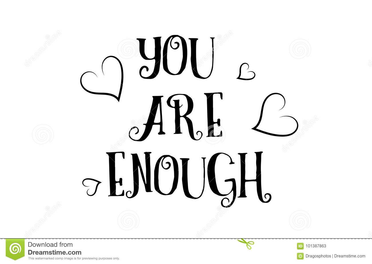 You Are Enough Love Quote Logo Greeting Card Poster Design Stock