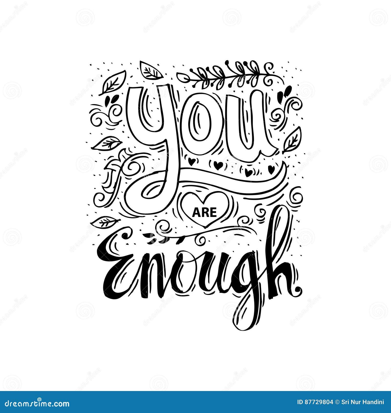 You Are Enough Stock Illustration Illustration Of Emblem 87729804