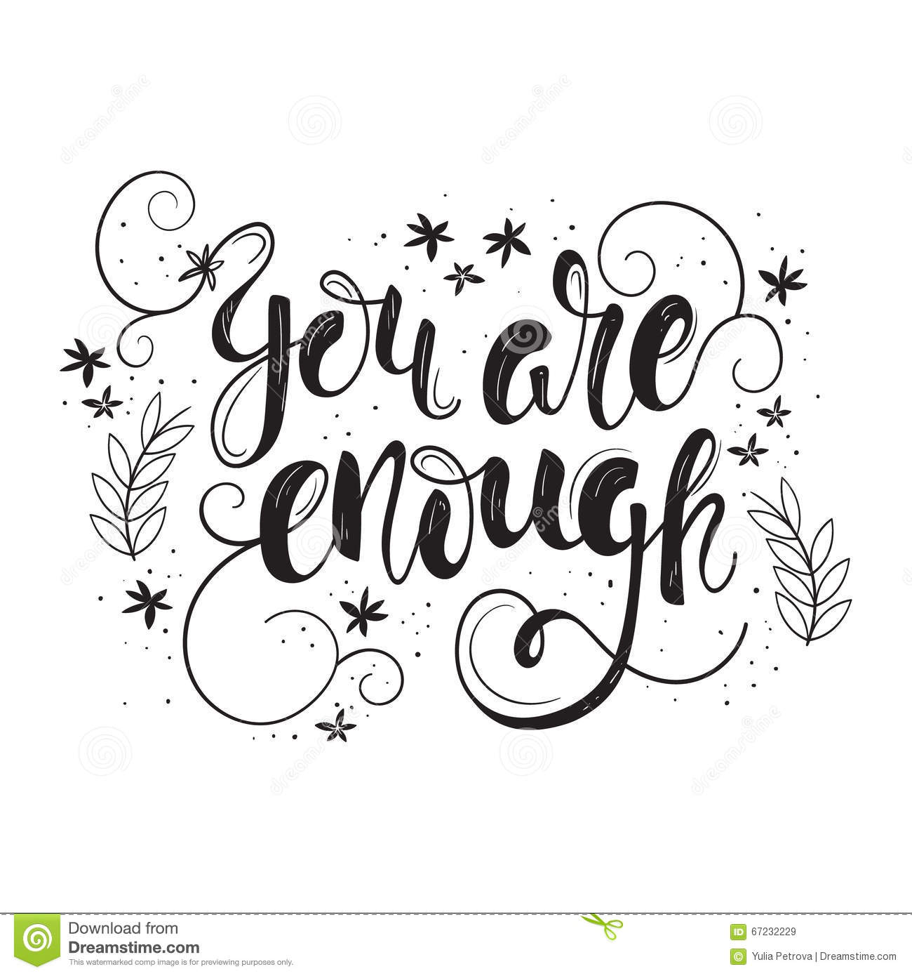 You Are Enough Motivation Poster Stock Vector Illustration Of