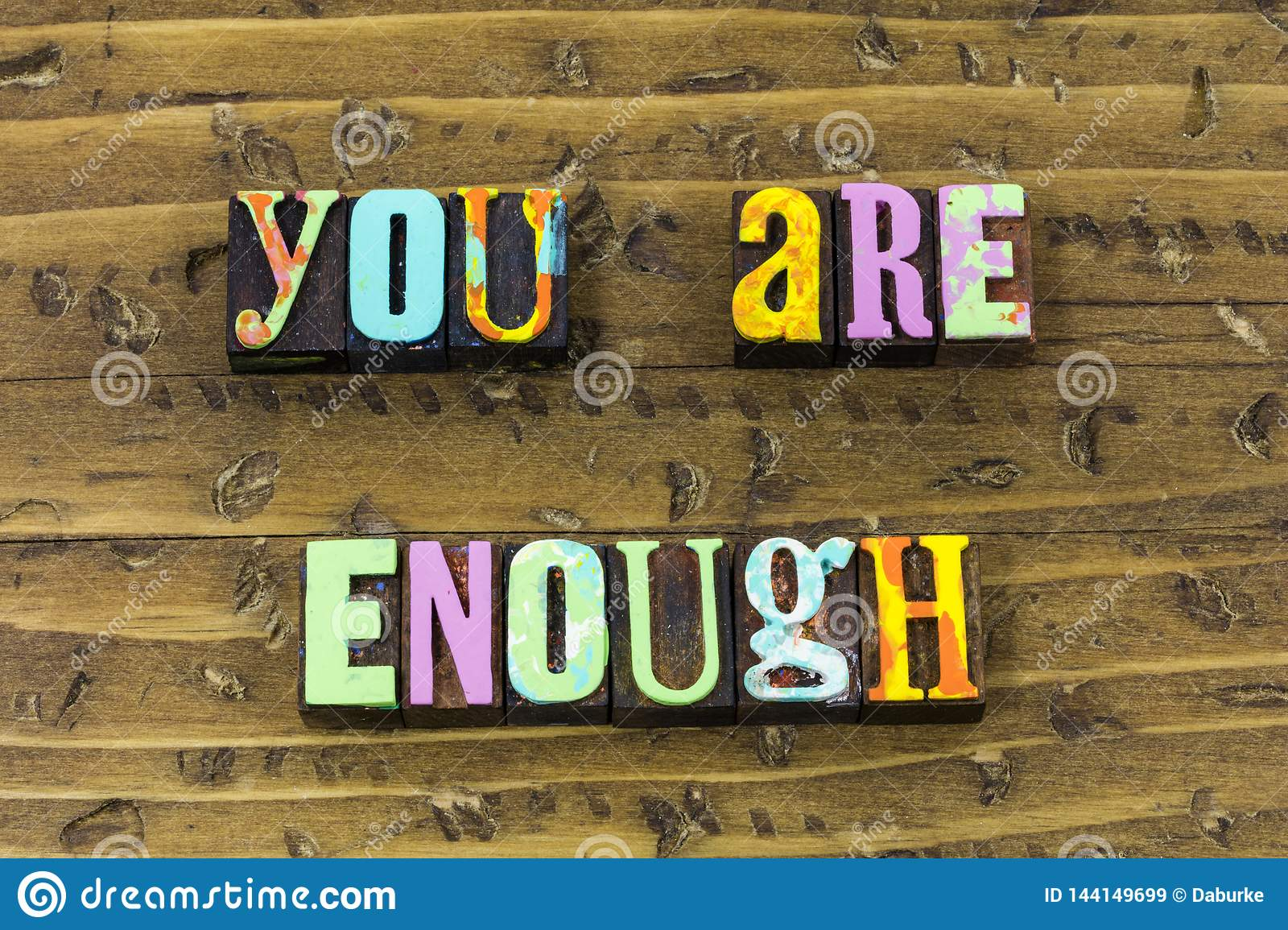 You enough wonderful strong beautiful grateful typography print