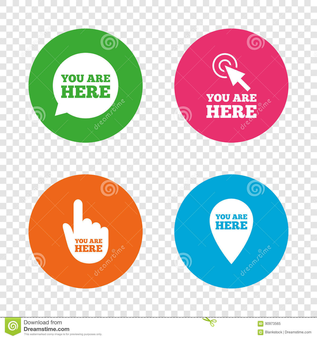 You Are Here Icons Info Speech Bubble Sign Stock Vector