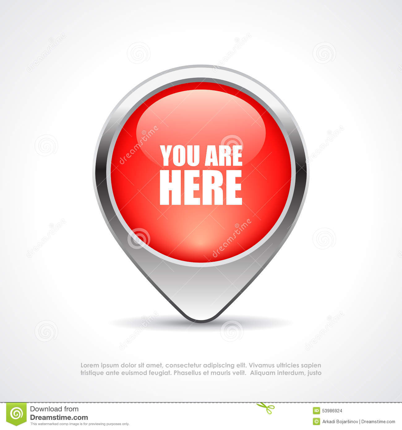You Are Here Map Marker Stock Vector. Illustration Of