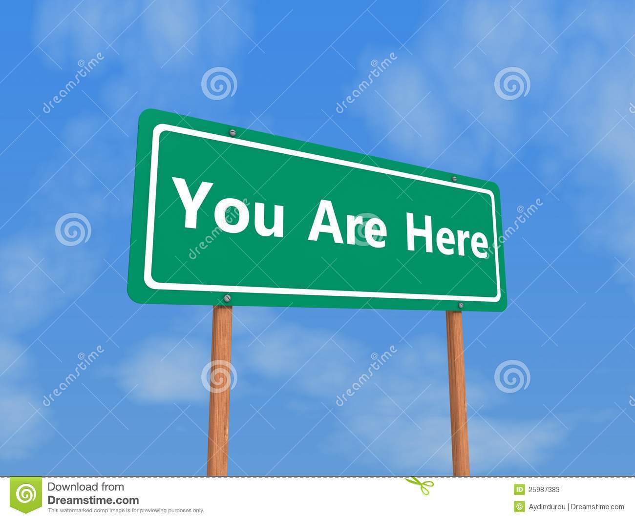 You Are Here Sign Stock Image. Image Of Location, Green