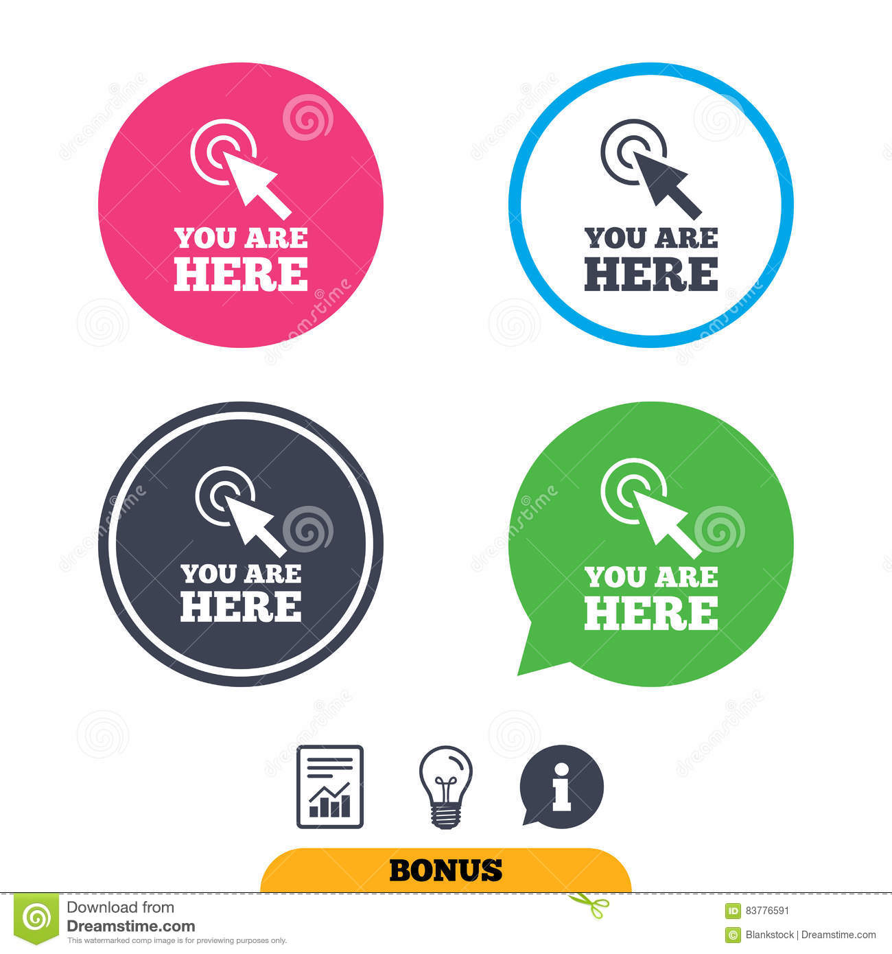 You Are Here Sign Icon Info Speech Bubble Stock Vector